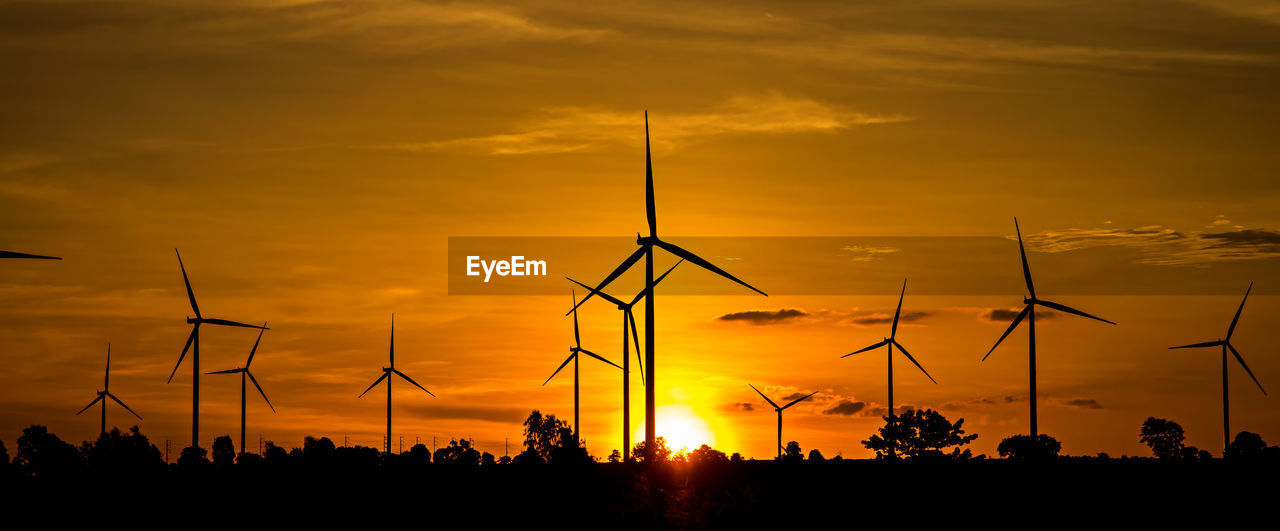 sunset, fuel and power generation, renewable energy, sky, environmental conservation, alternative energy, wind turbine, turbine, silhouette, cloud - sky, wind power, orange color, beauty in nature, nature, scenics - nature, environment, tranquility, technology, no people, tranquil scene, outdoors, sustainable resources, power supply