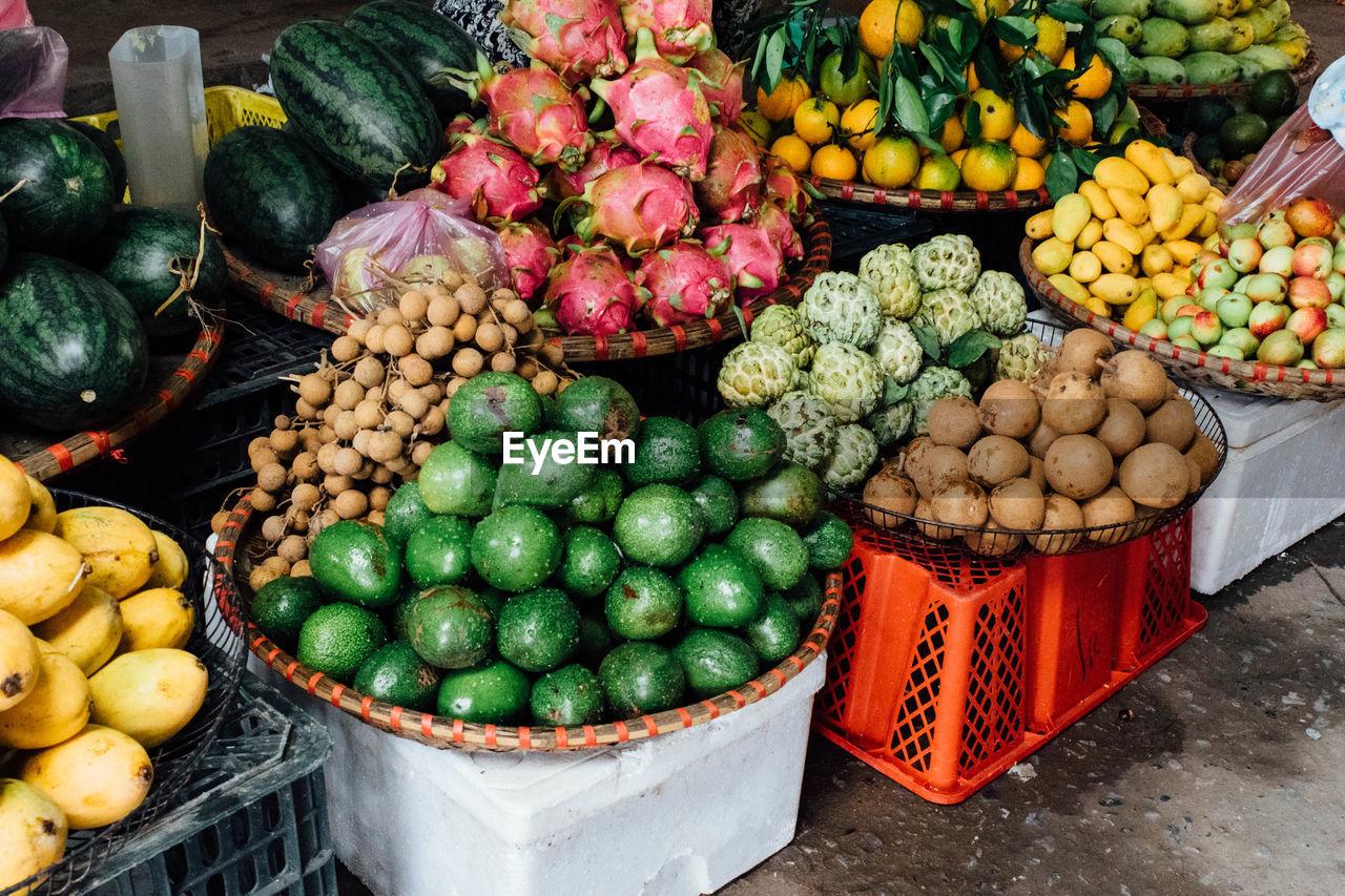 Variety Of Fruits At Market