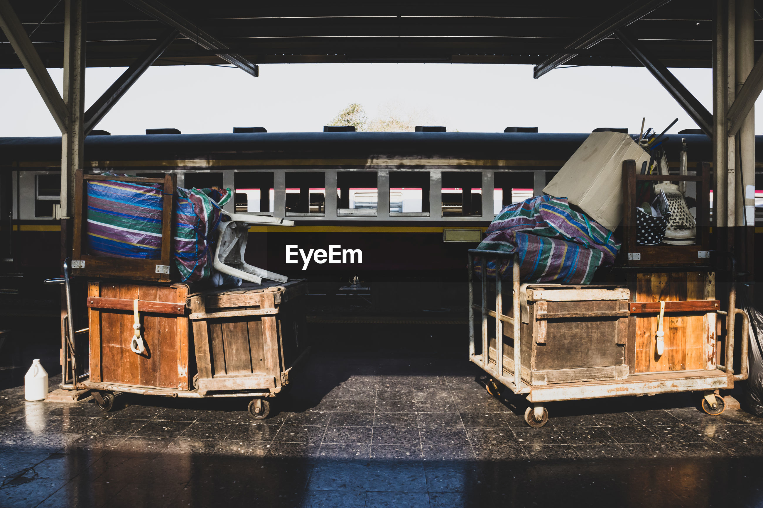 View of empty seats in boat