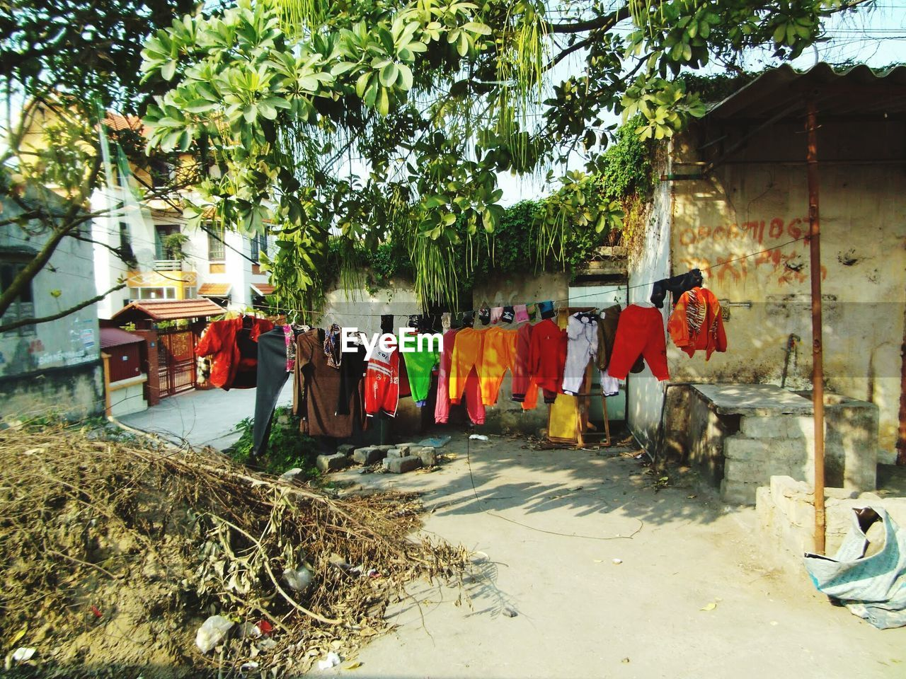 tree, plant, nature, group of people, day, clothing, architecture, built structure, hanging, building exterior, outdoors, sunlight, laundry, drying, building, group, textile, traditional clothing, city, uniform