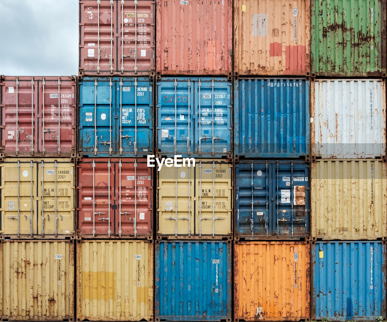 Stack of containers on a dock
