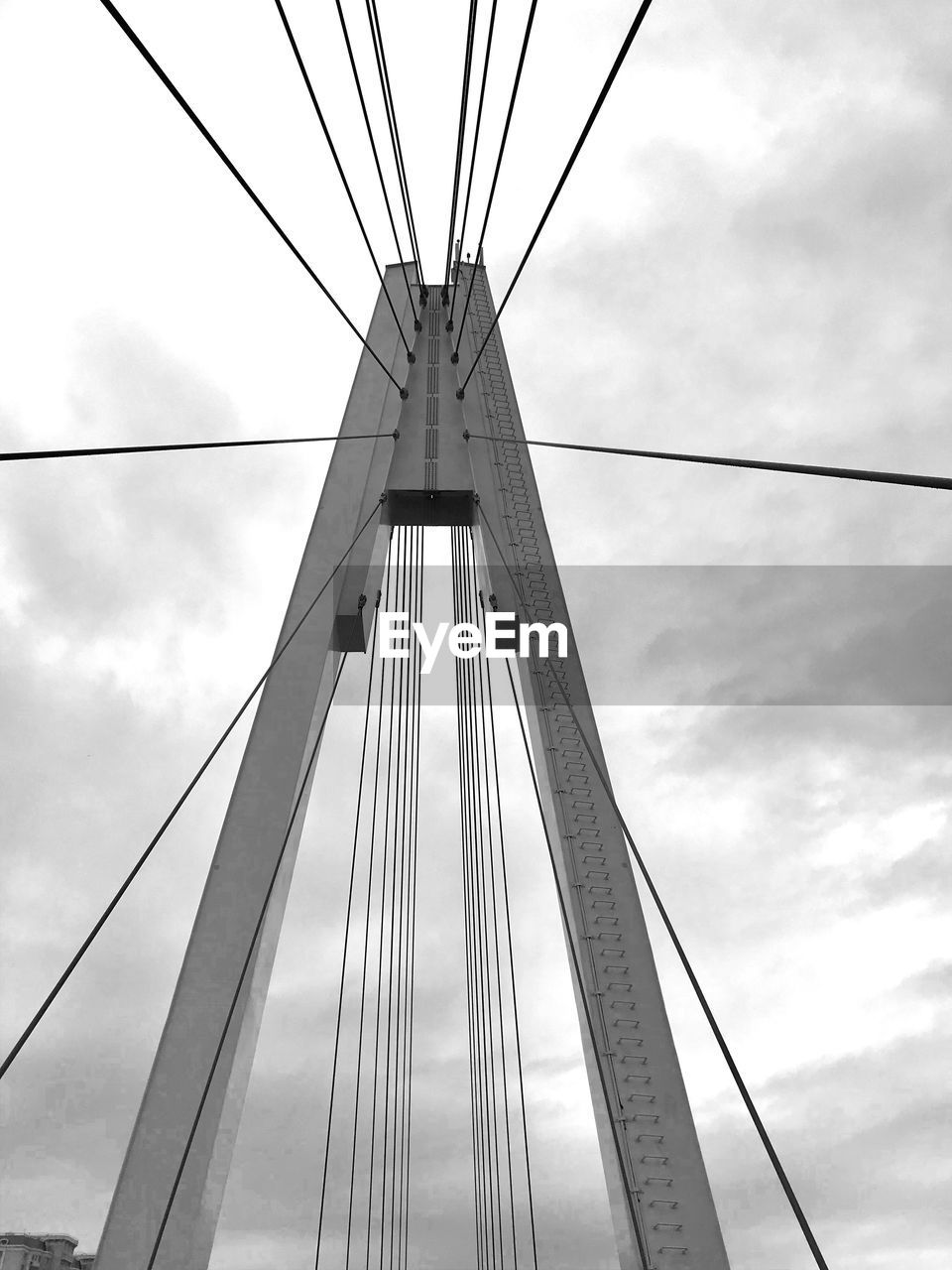 sky, cloud - sky, low angle view, built structure, transportation, cable, architecture, connection, engineering, bridge - man made structure, bridge, cable-stayed bridge, nature, suspension bridge, steel cable, day, outdoors, travel destinations, travel