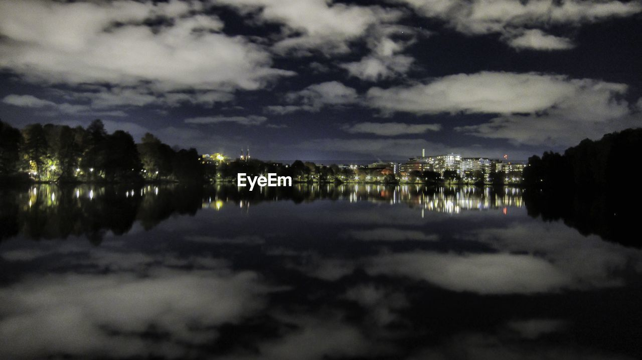 reflection, sky, night, water, illuminated, cloud - sky, built structure, architecture, no people, outdoors, building exterior, lake, symmetry, nature, city
