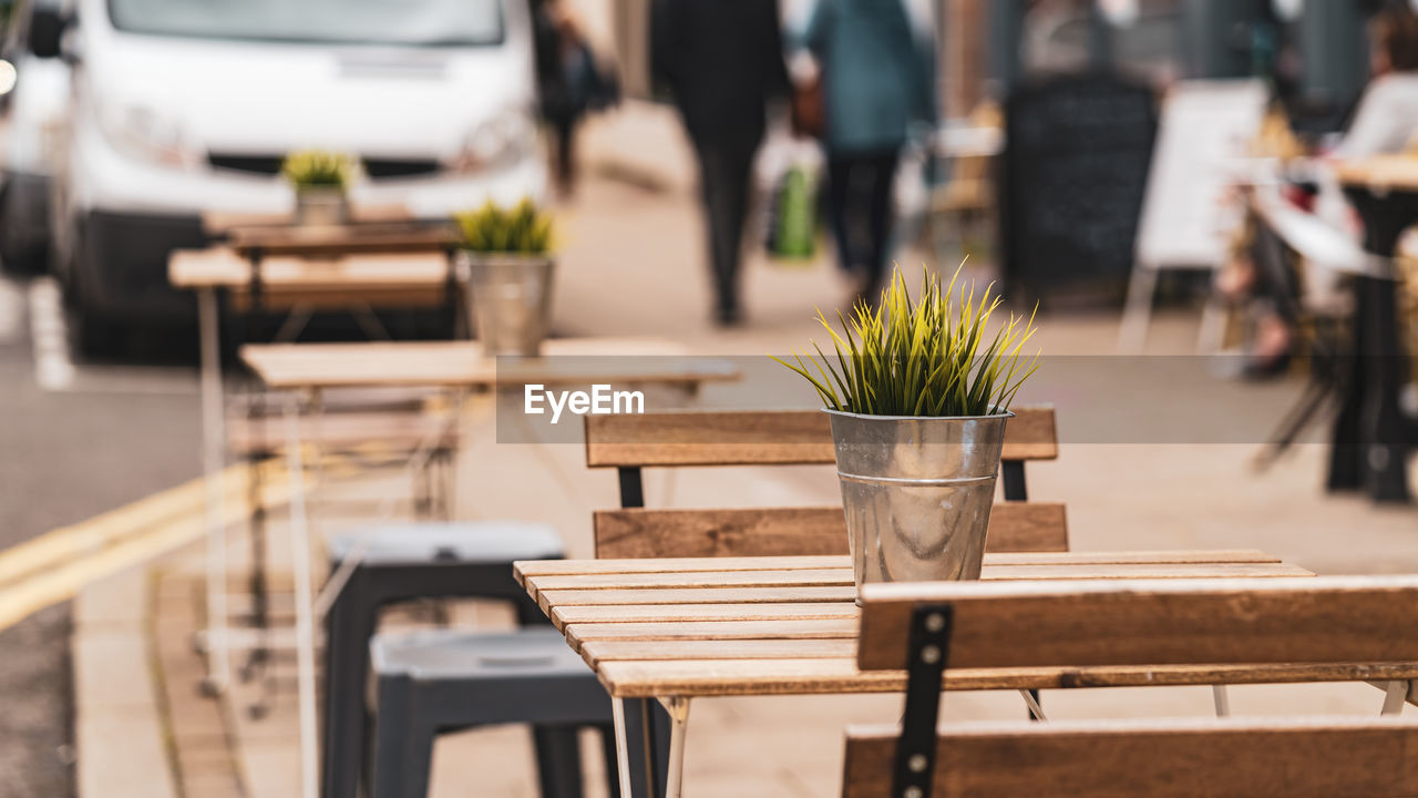 Street tables and chairs in a restaurant during covid-19 pandemic