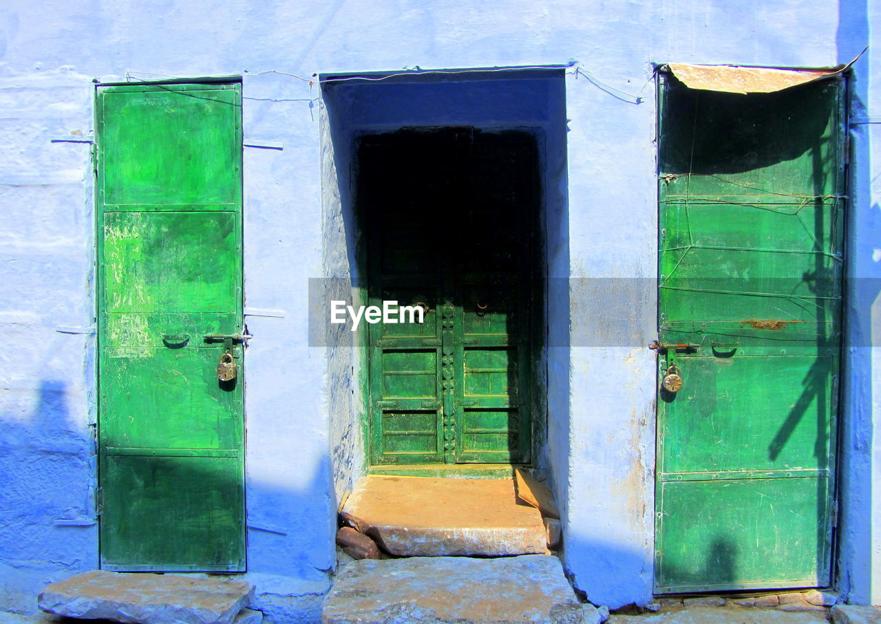 door, green color, window, no people, day, architecture, outdoors, built structure, building exterior, blue, close-up