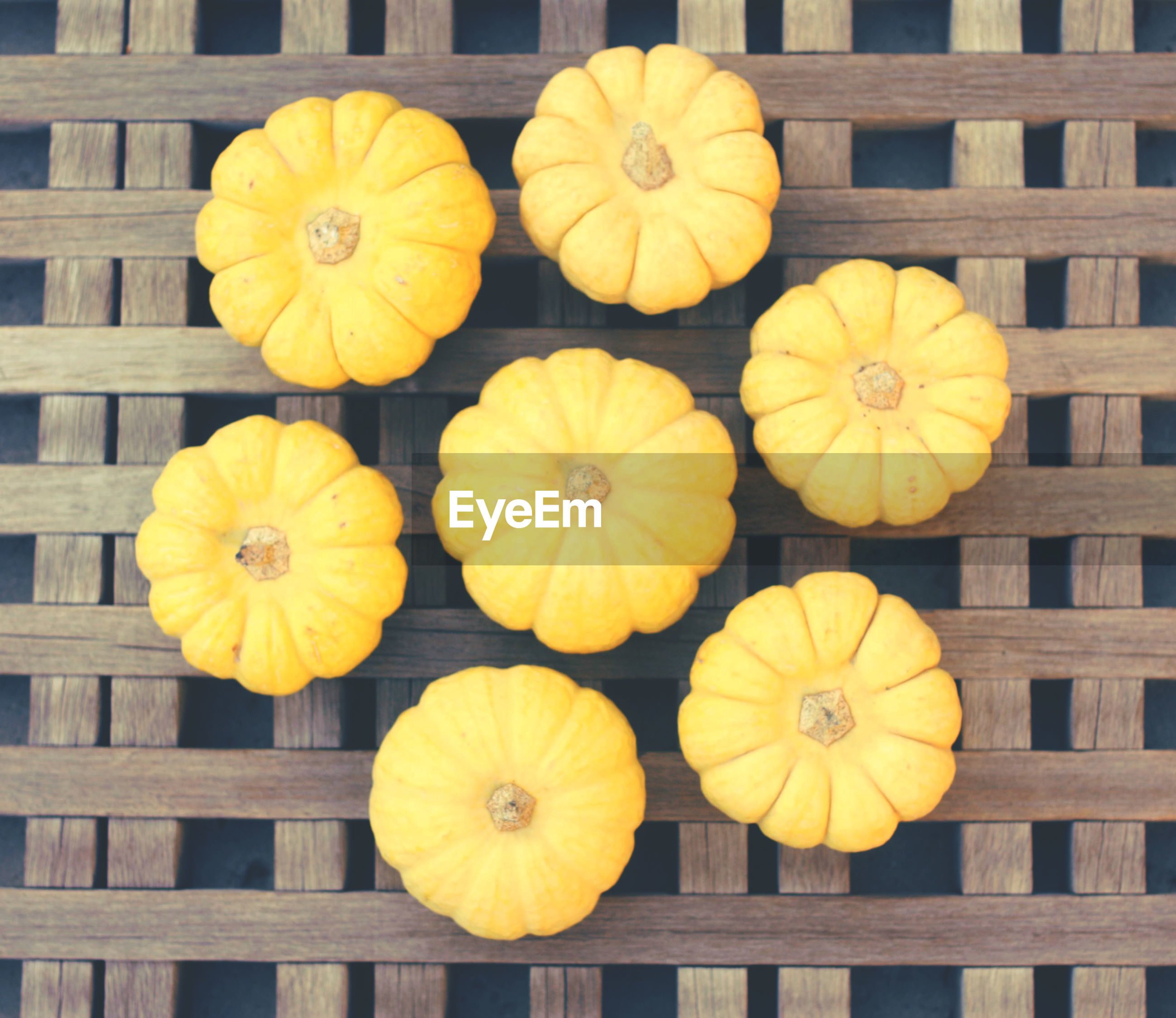 Directly above shot of pumpkins on table