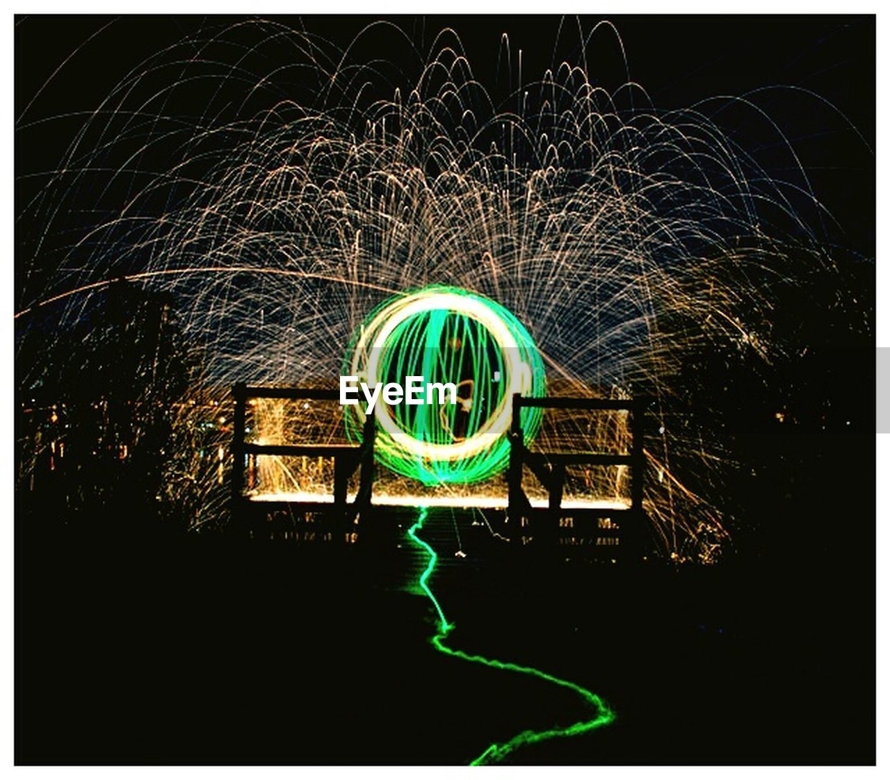 illuminated, night, light painting, long exposure, wire wool, outdoors, motion, light trail, no people, multi colored, neon, sky