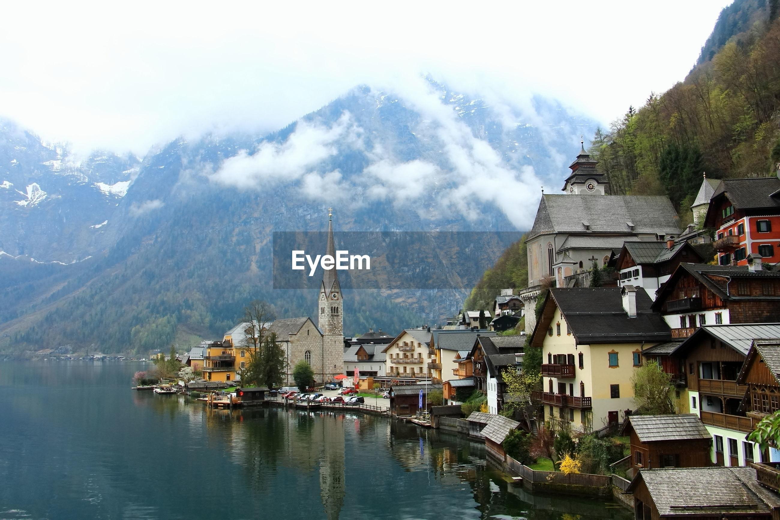 Hallstatt mountain village with hallstatter. hallstatt is unesco world culture heritage.