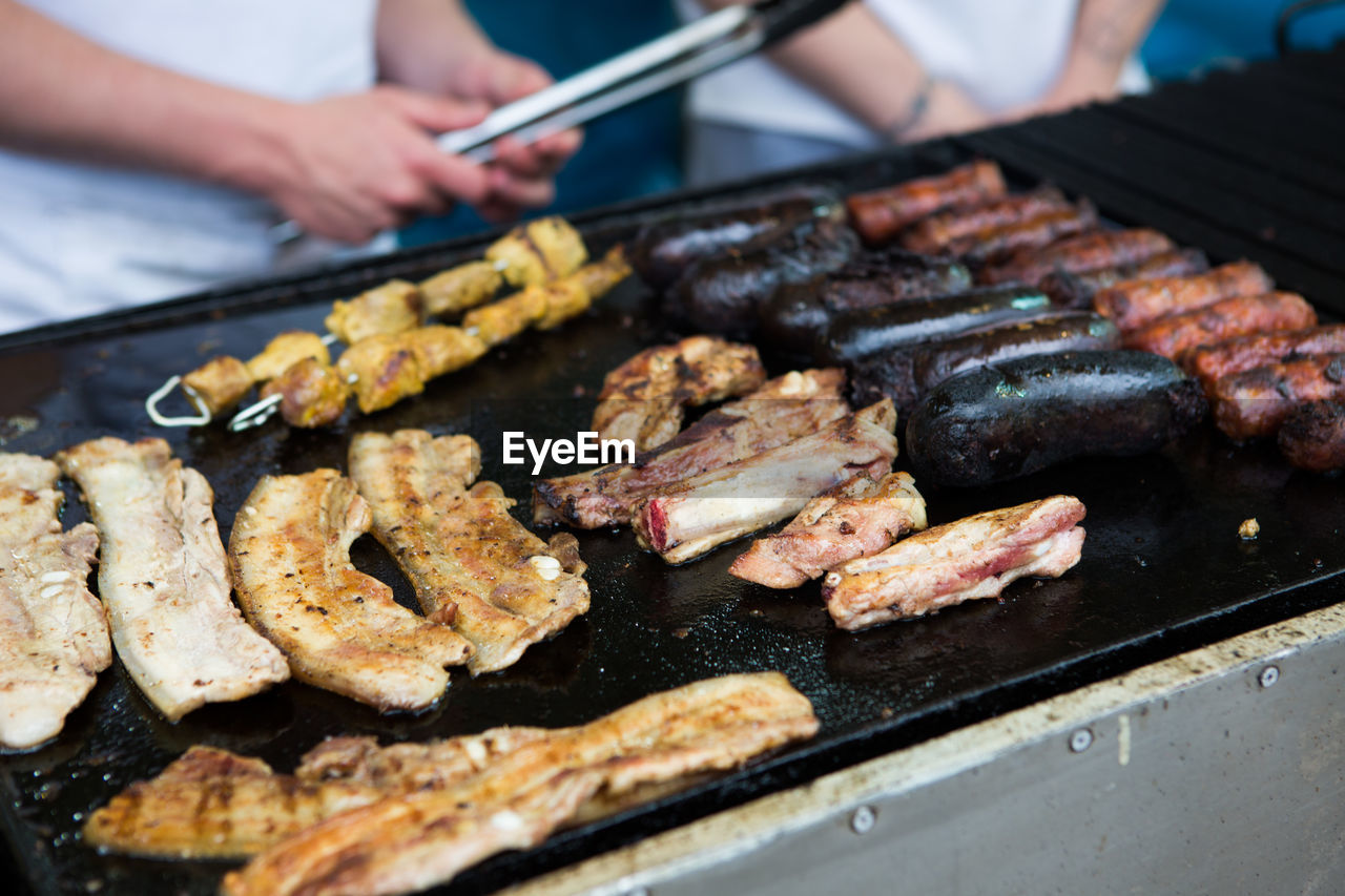 High Angle View Of Churrasco Being Cooked On Barbecue