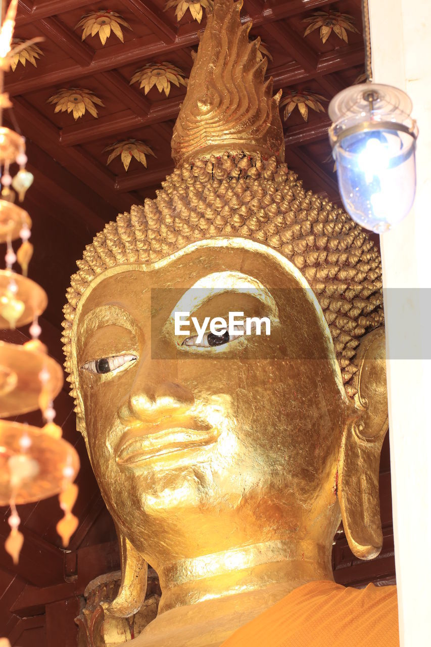religion, statue, spirituality, sculpture, gold colored, place of worship, no people, indoors, close-up, day