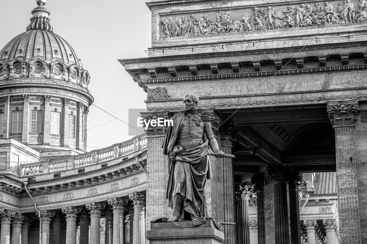 Low Angle View Of Statue Against Kazan Cathedral