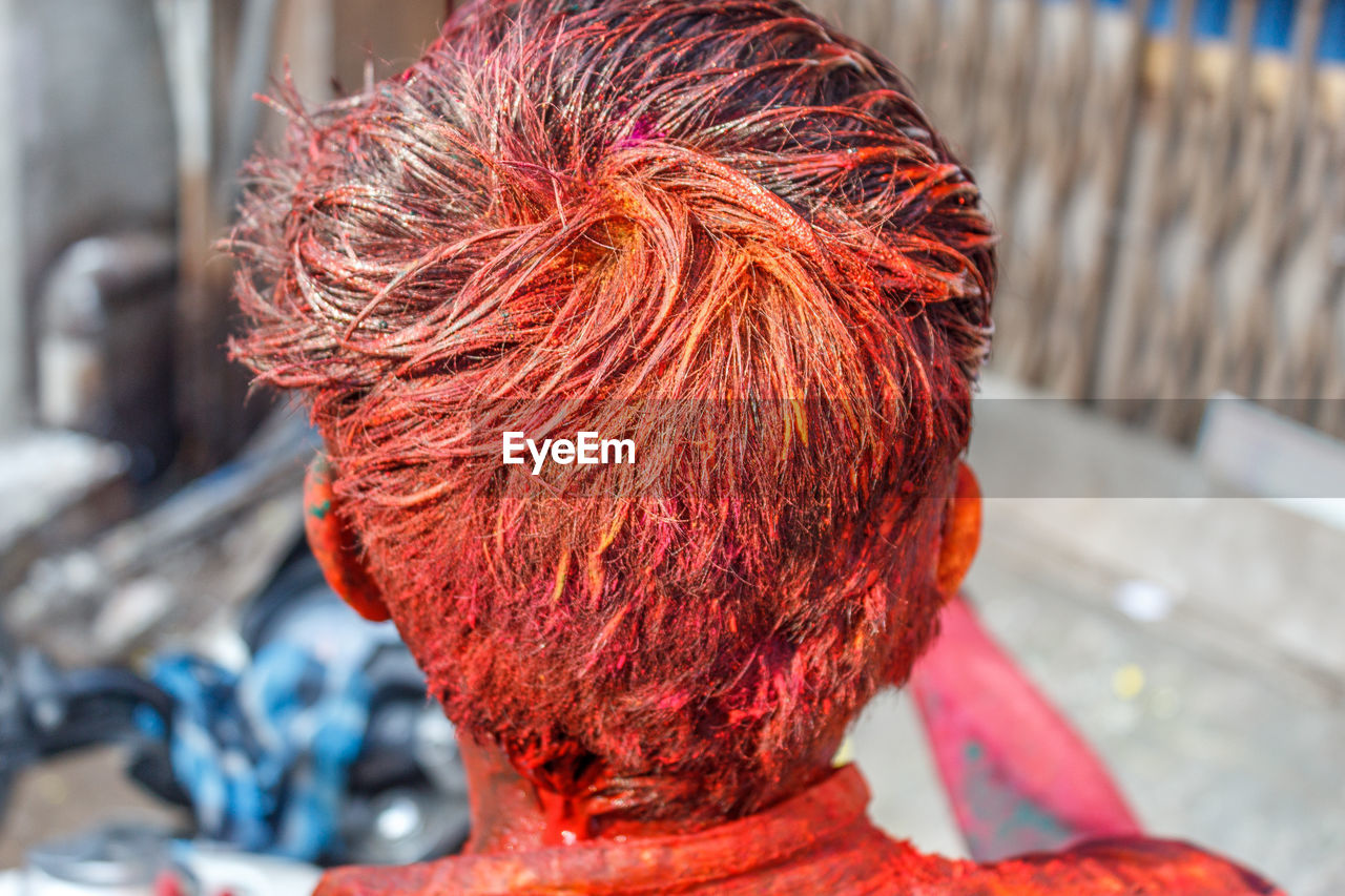 Rear View Of Man With Color During Holi