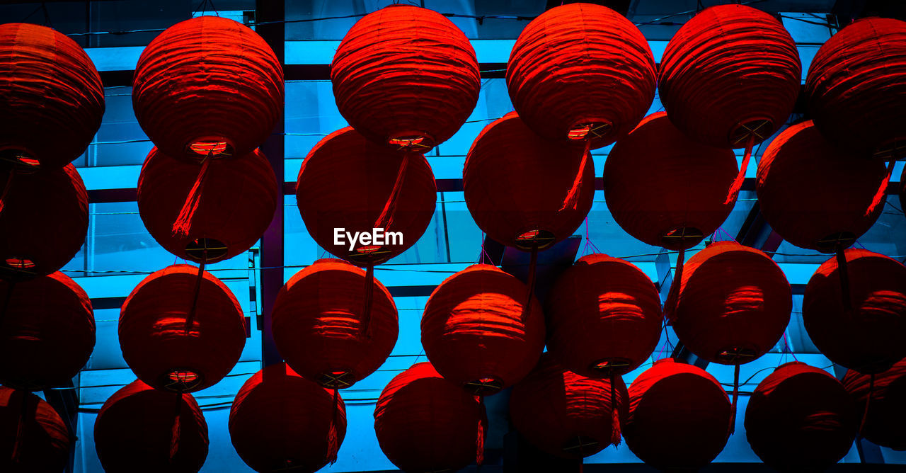 Low Angle View Of Lanterns Hanging