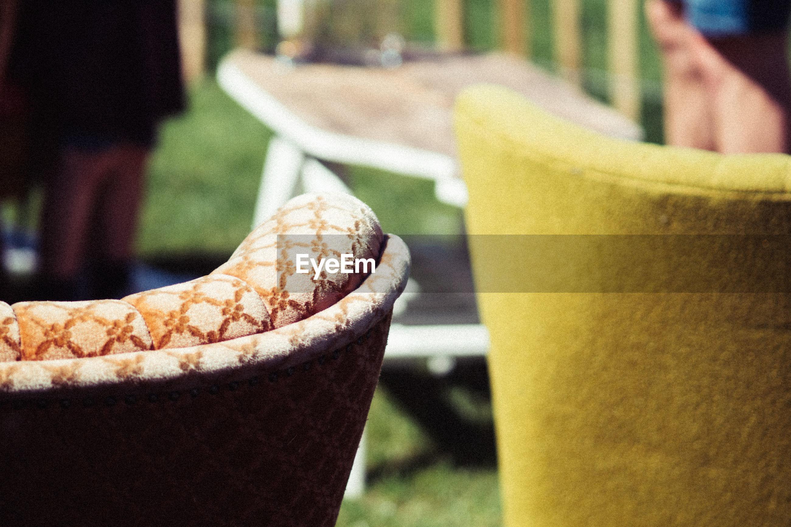 Close-up of seats outdoors