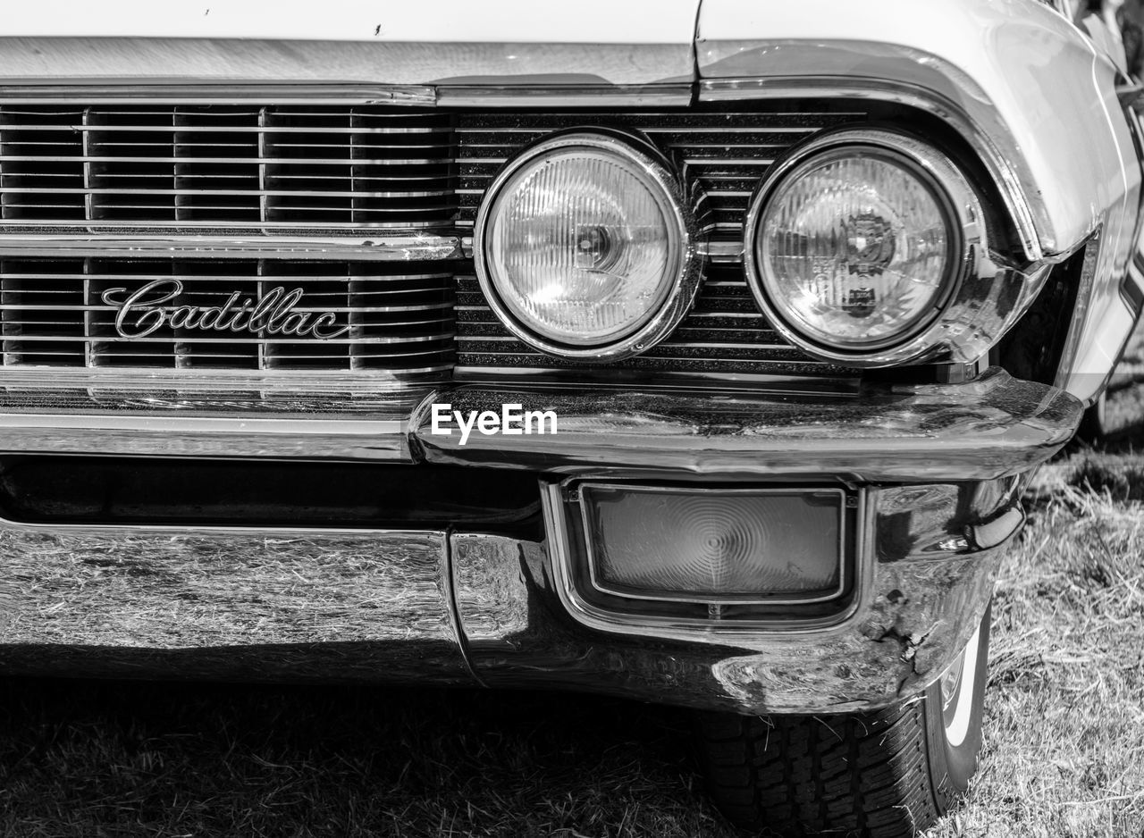 transportation, headlight, mode of transport, land vehicle, old-fashioned, car, no people, outdoors, day, close-up