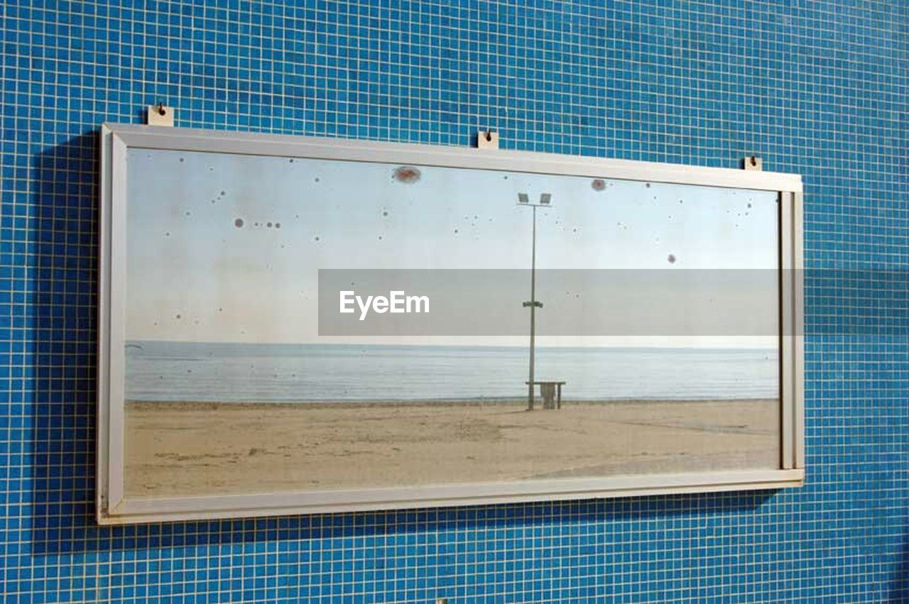 water, sea, window, blue, no people, swimming pool, day, outdoors, horizon over water, sky, close-up