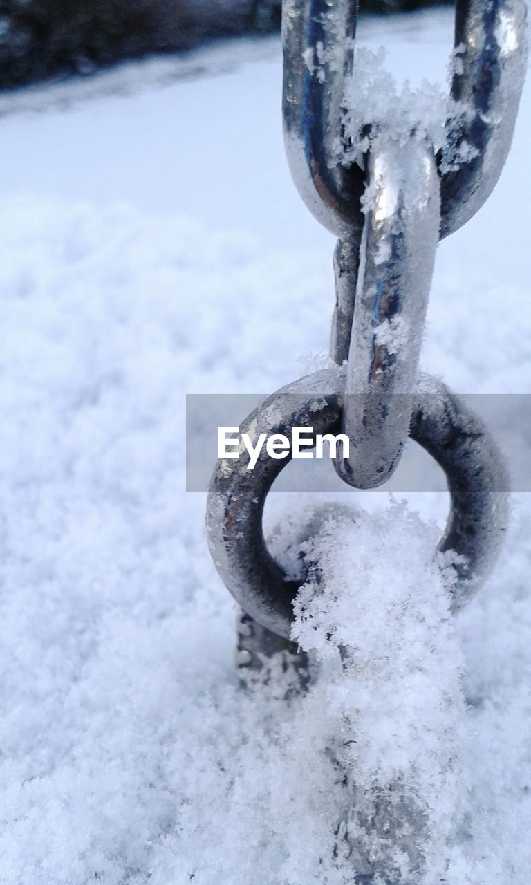 snow, cold temperature, metal, winter, no people, outdoors, close-up, day, frozen, nature, water