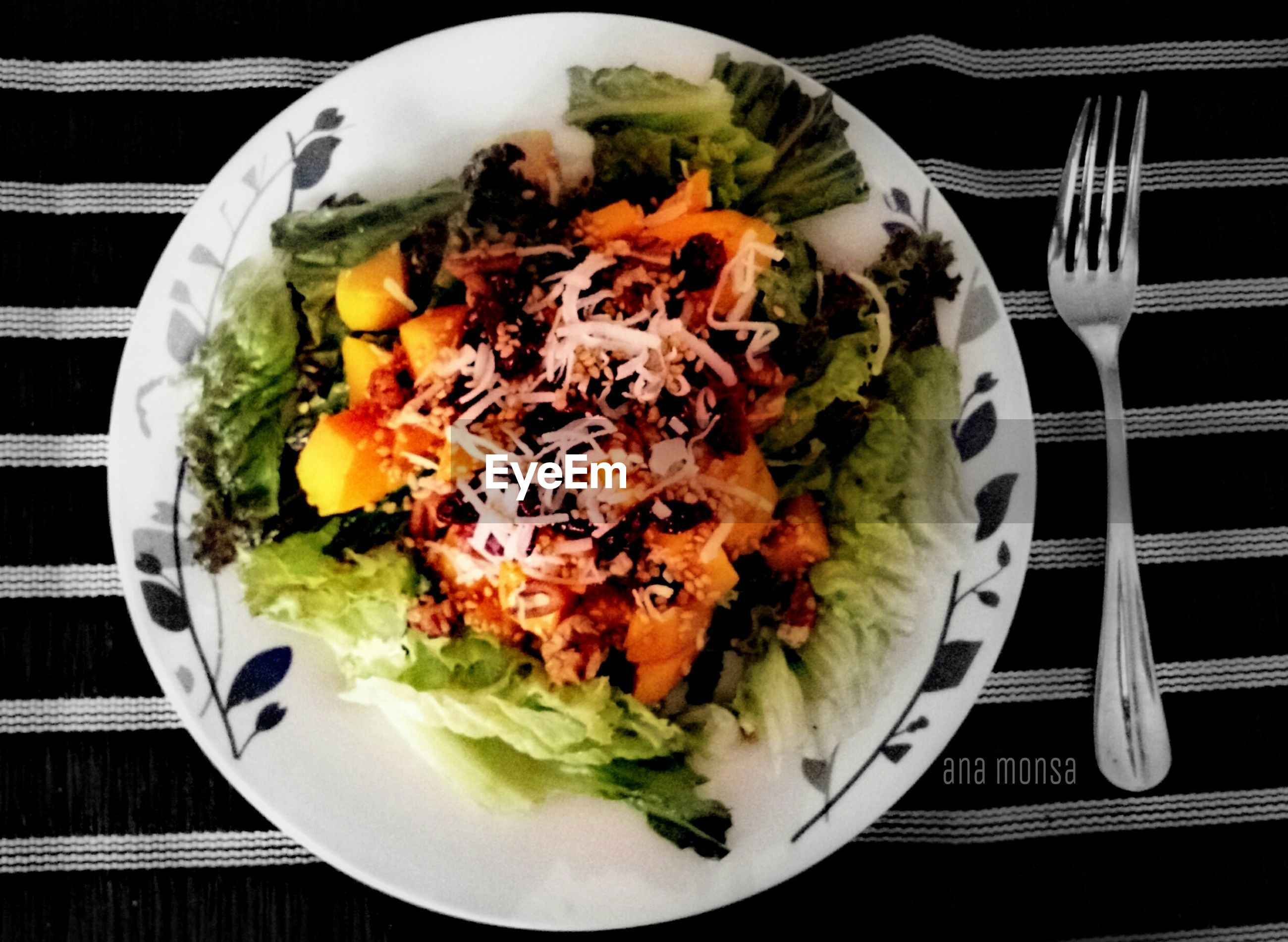 food, food and drink, freshness, indoors, ready-to-eat, plate, healthy eating, still life, table, meal, vegetable, high angle view, salad, directly above, serving size, meat, close-up, served, indulgence, tomato