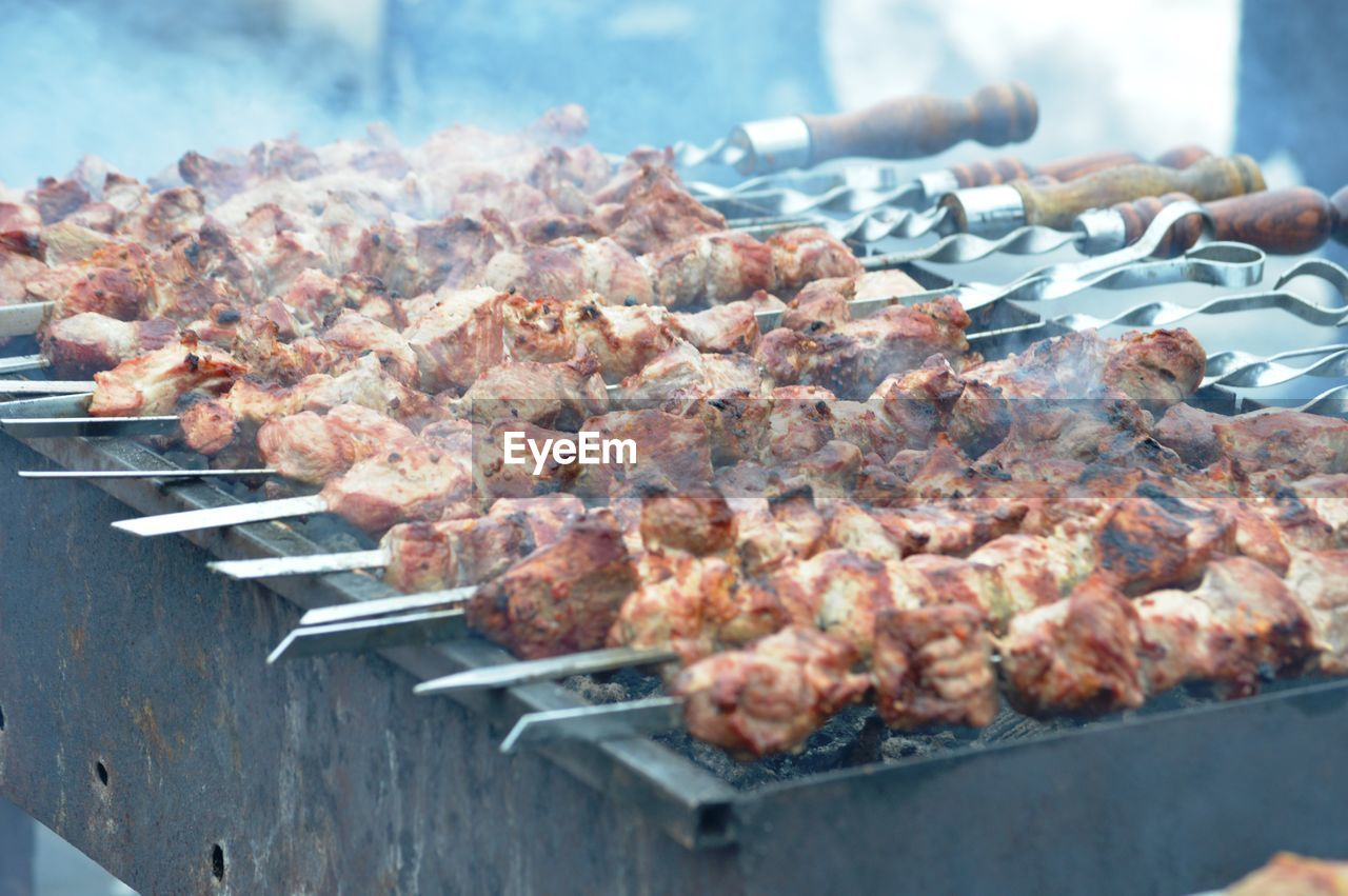 CLOSE-UP OF MEAT ON BARBECUE