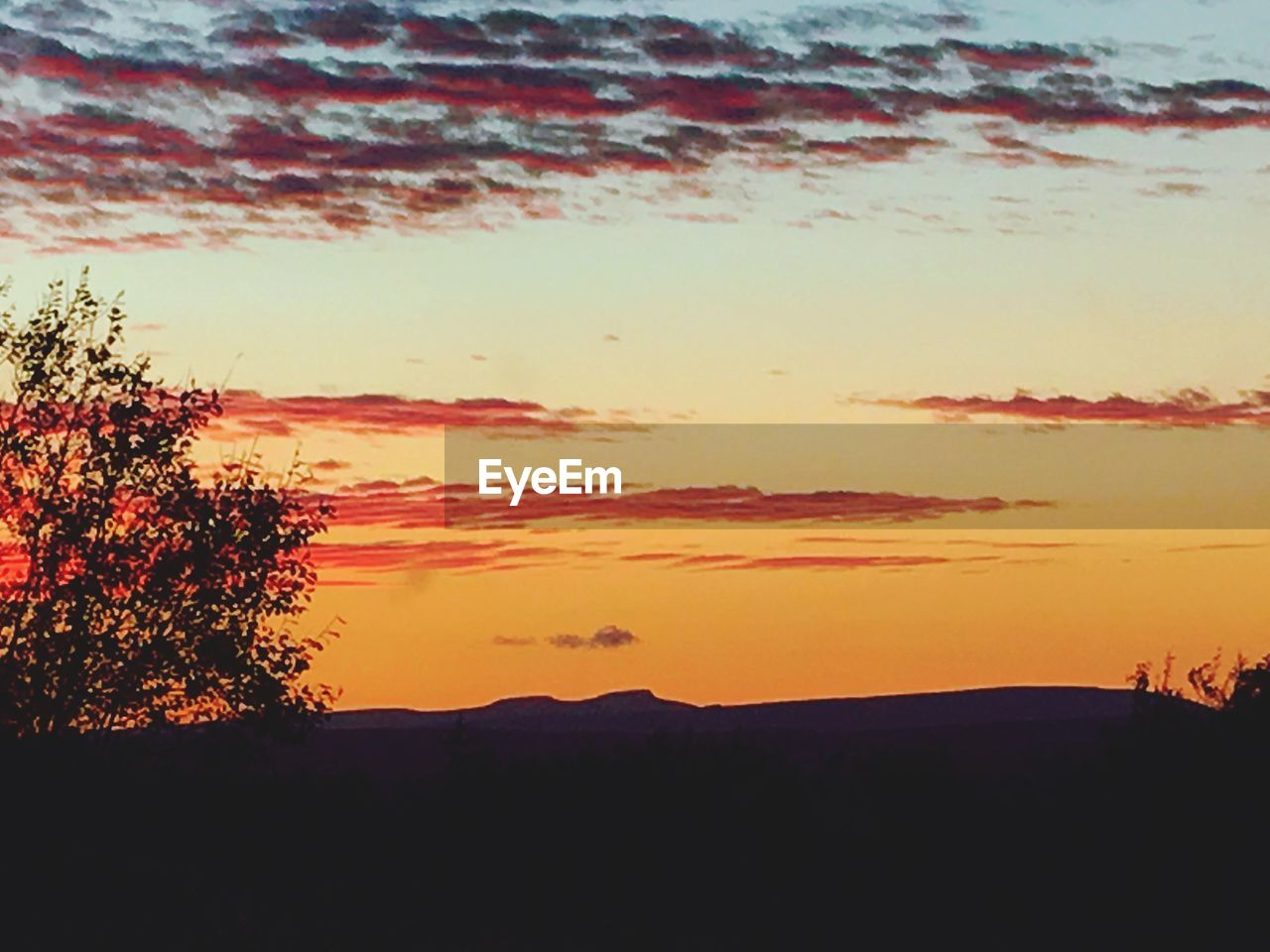 sunset, silhouette, beauty in nature, nature, orange color, tree, tranquil scene, scenics, tranquility, sky, no people, outdoors, landscape, mountain