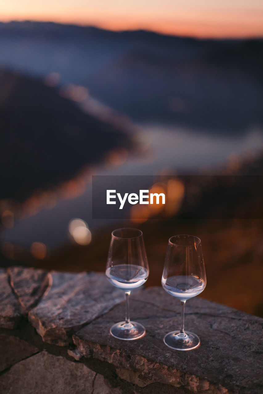 Close-Up Of Wine Glasses At Observation Point