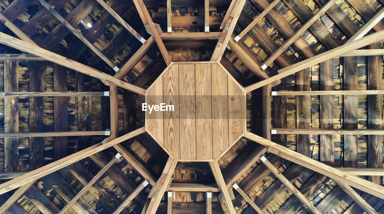 Directly Below Shot Of Wooden Gazebo At Park