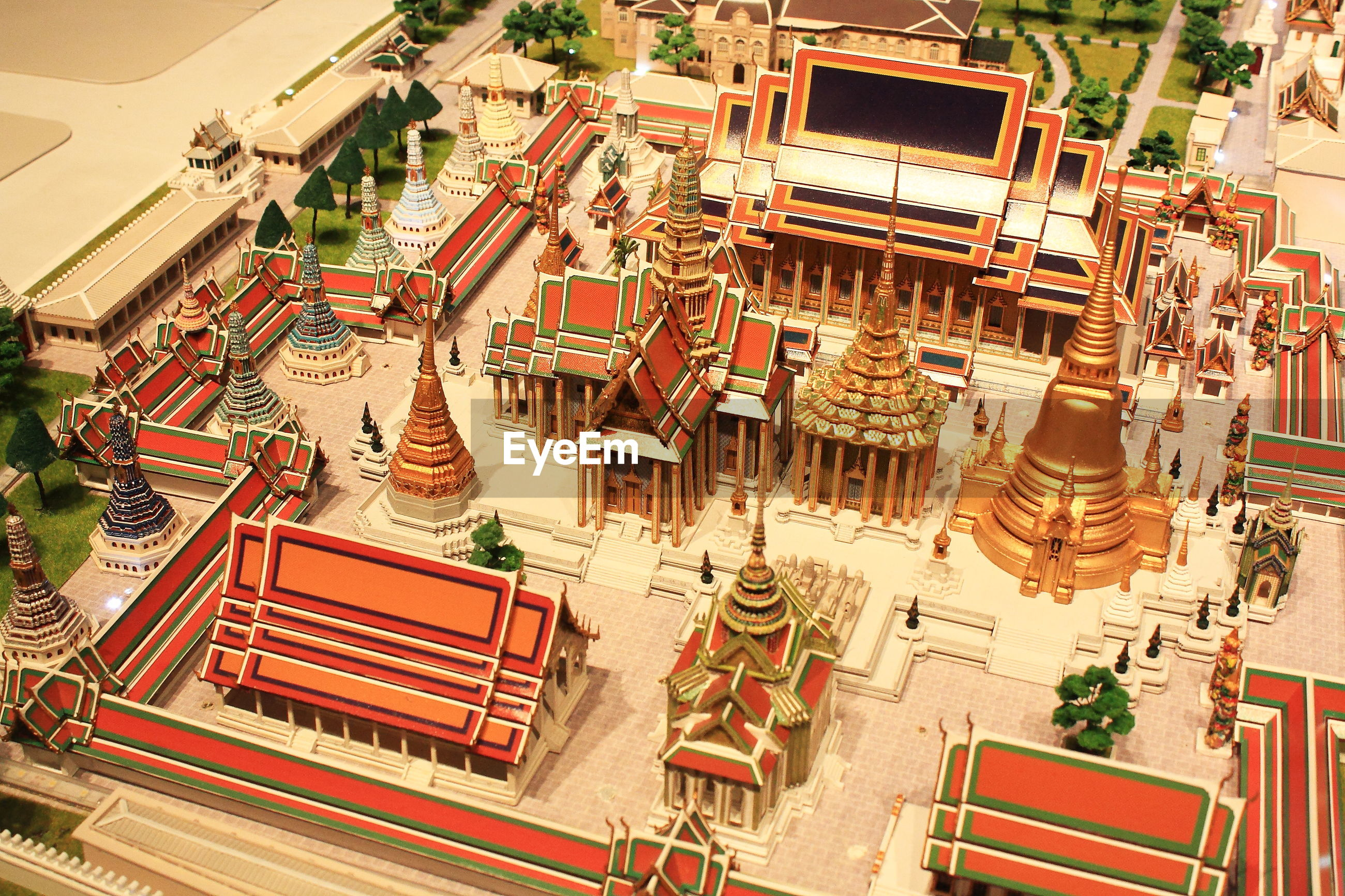 High angle view of wat phra kaew model at museum