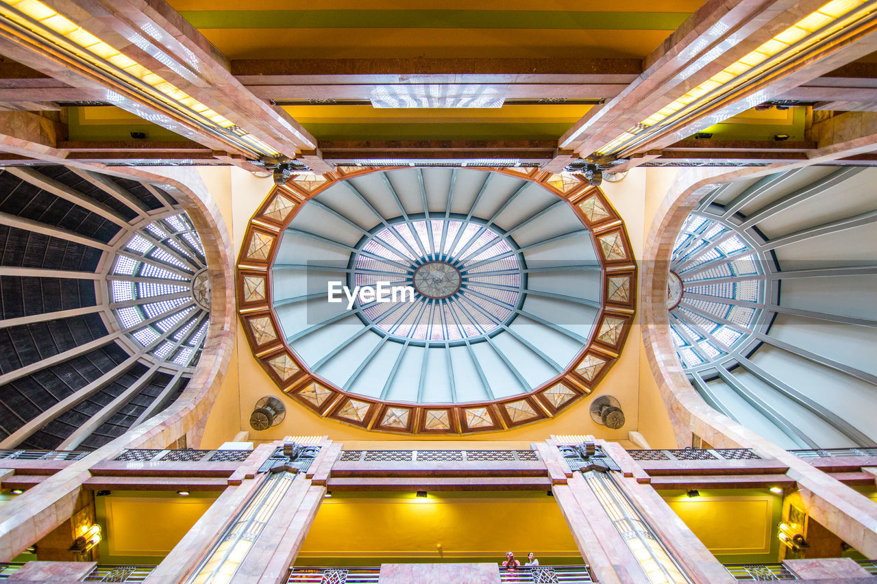 architecture, built structure, indoors, dome, ceiling, low angle view, no people, circle, geometric shape, architectural feature, shape, ornate, travel destinations, directly below, time, history, day, clock, travel, skylight, cupola, architecture and art