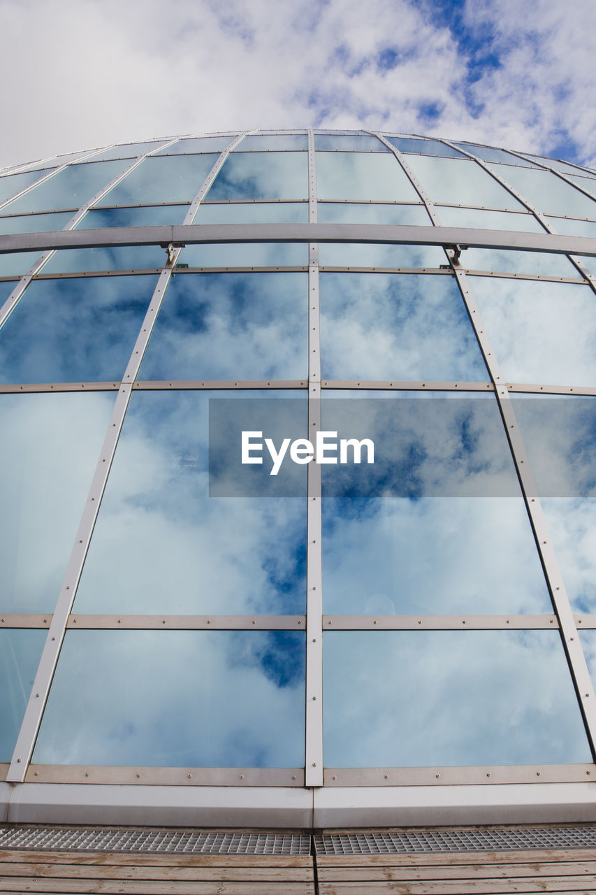 cloud - sky, low angle view, built structure, sky, architecture, no people, glass - material, day, building exterior, nature, outdoors, blue, pattern, metal, design, modern, reflection, window, shape, building, steel, directly below, architecture and art