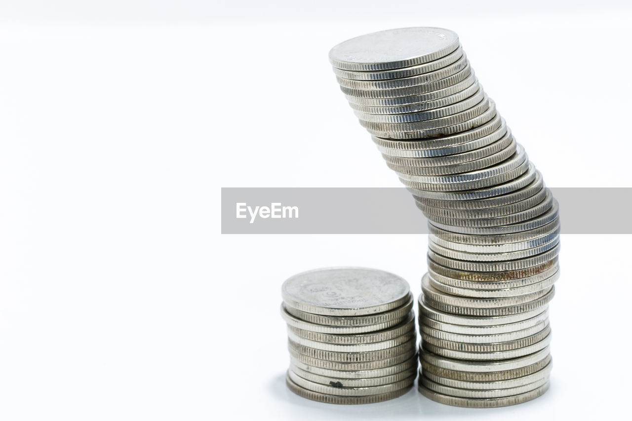 white background, finance, coin, savings, studio shot, wealth, stack, copy space, currency, no people, business, close-up, day