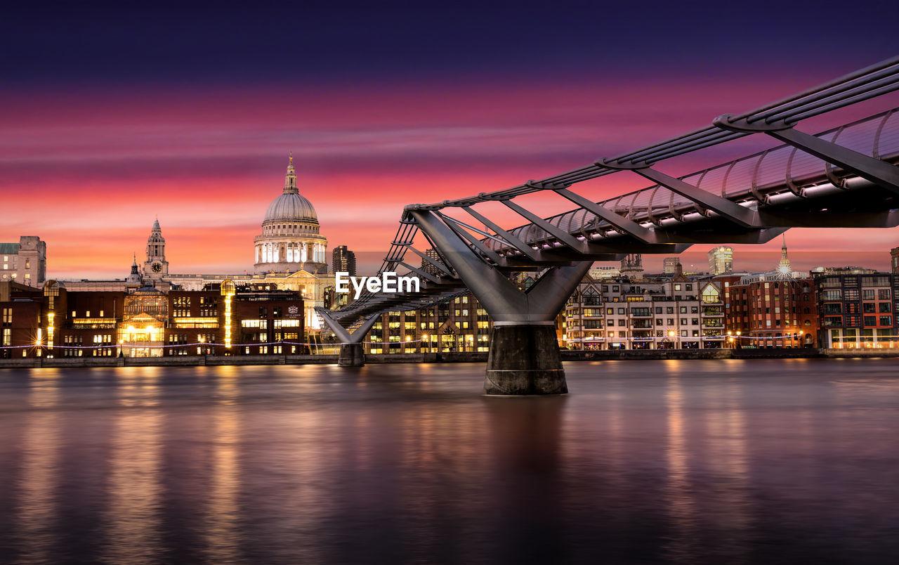 Millennium Bridge By St Paul Cathedral Against Sky