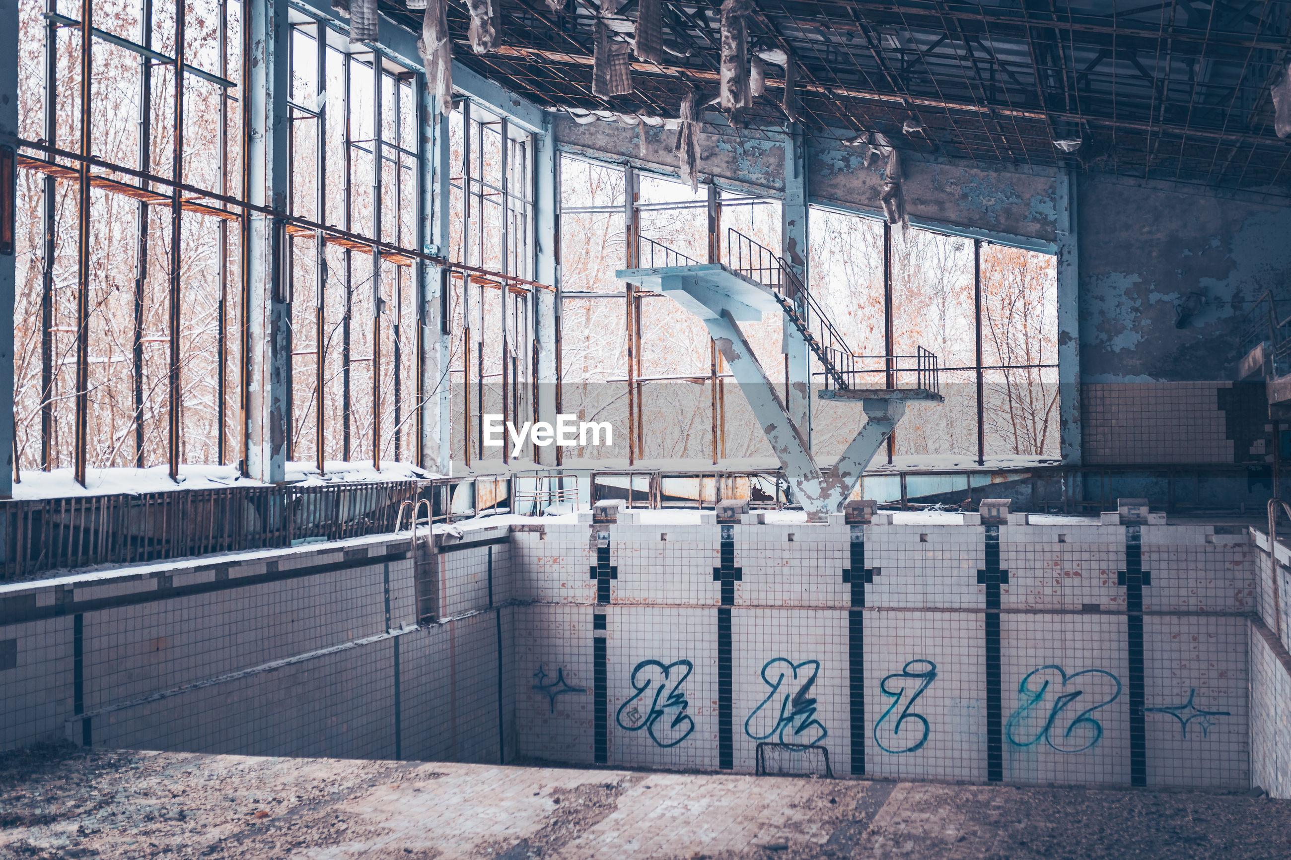 Abandoned building in chernobyl zone at pripyat