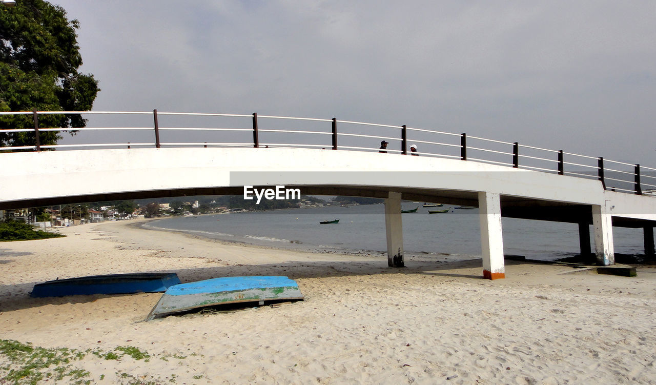 sky, transportation, nature, water, bridge, mode of transportation, architecture, day, beach, bridge - man made structure, built structure, land, connection, car, motor vehicle, sand, outdoors, no people, nautical vessel