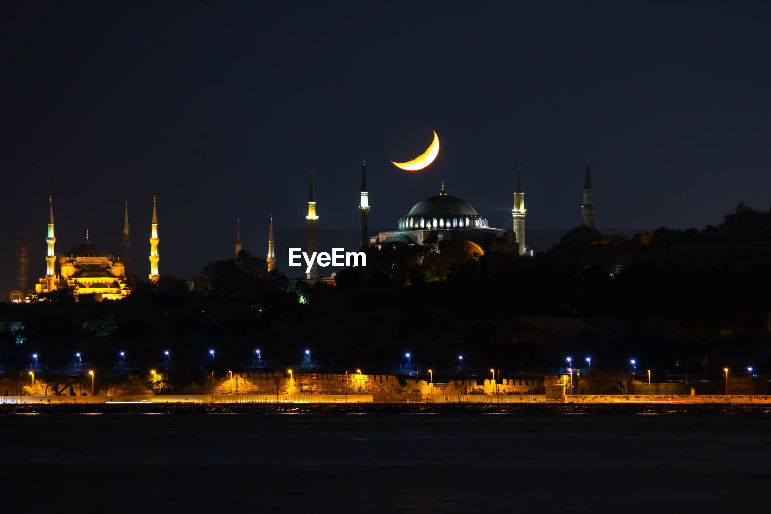 Hagia sophia and crescent moon
