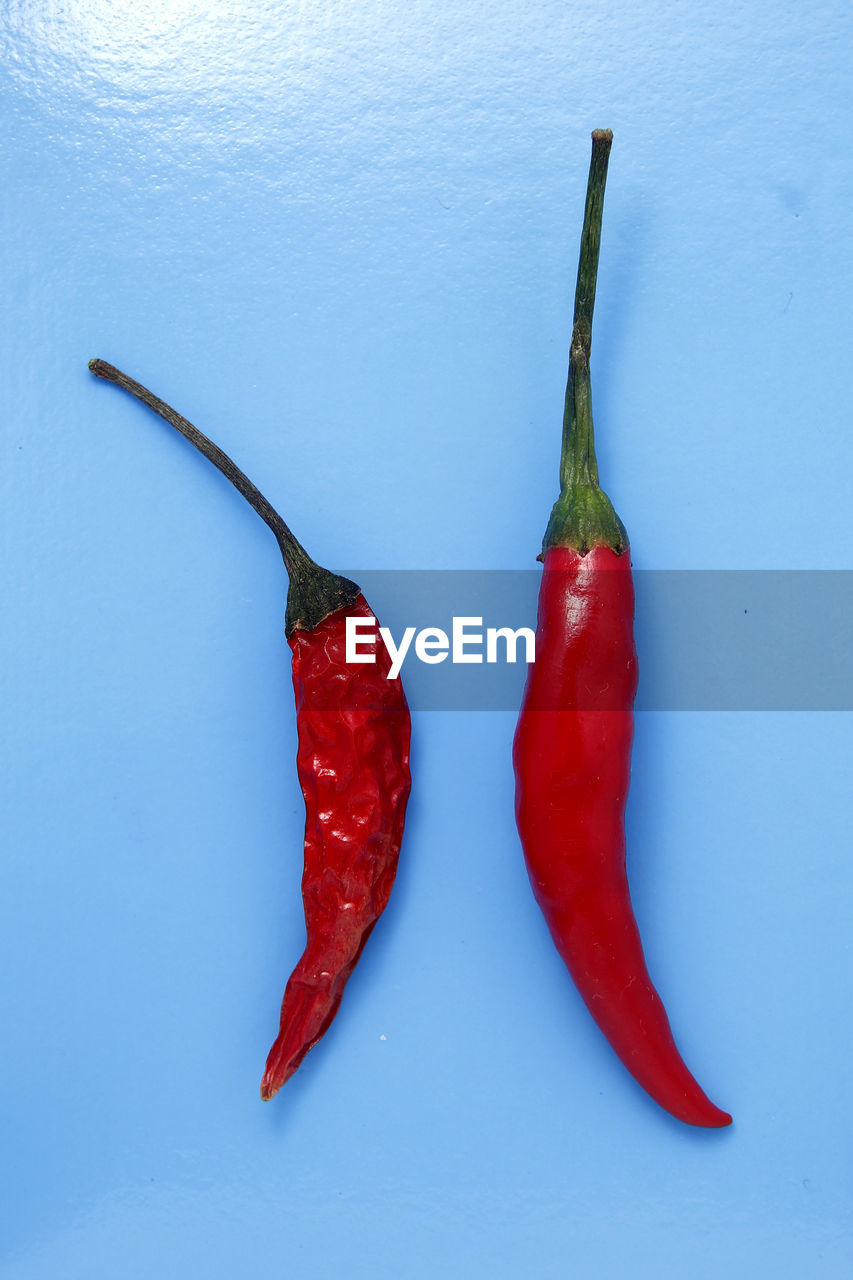 red, chili pepper, pepper, red chili pepper, food and drink, spice, food, vegetable, freshness, healthy eating, still life, wellbeing, no people, studio shot, indoors, chili, close-up, ingredient, organic, plant stem, blue background