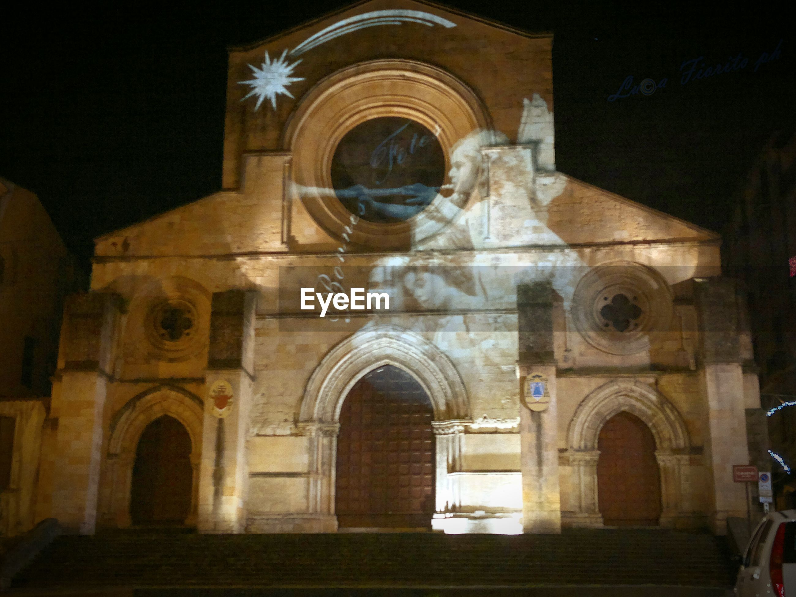Projector light on cattedrale di cosenza at night