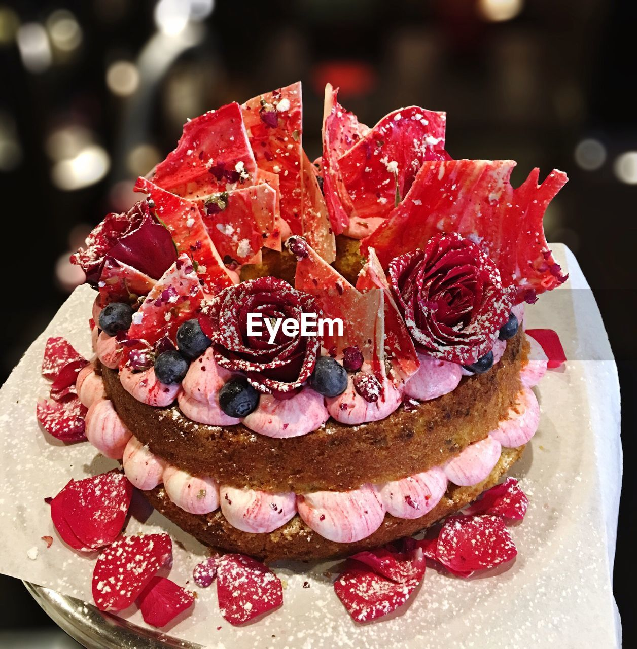 Close-Up Of Cake With Flowers