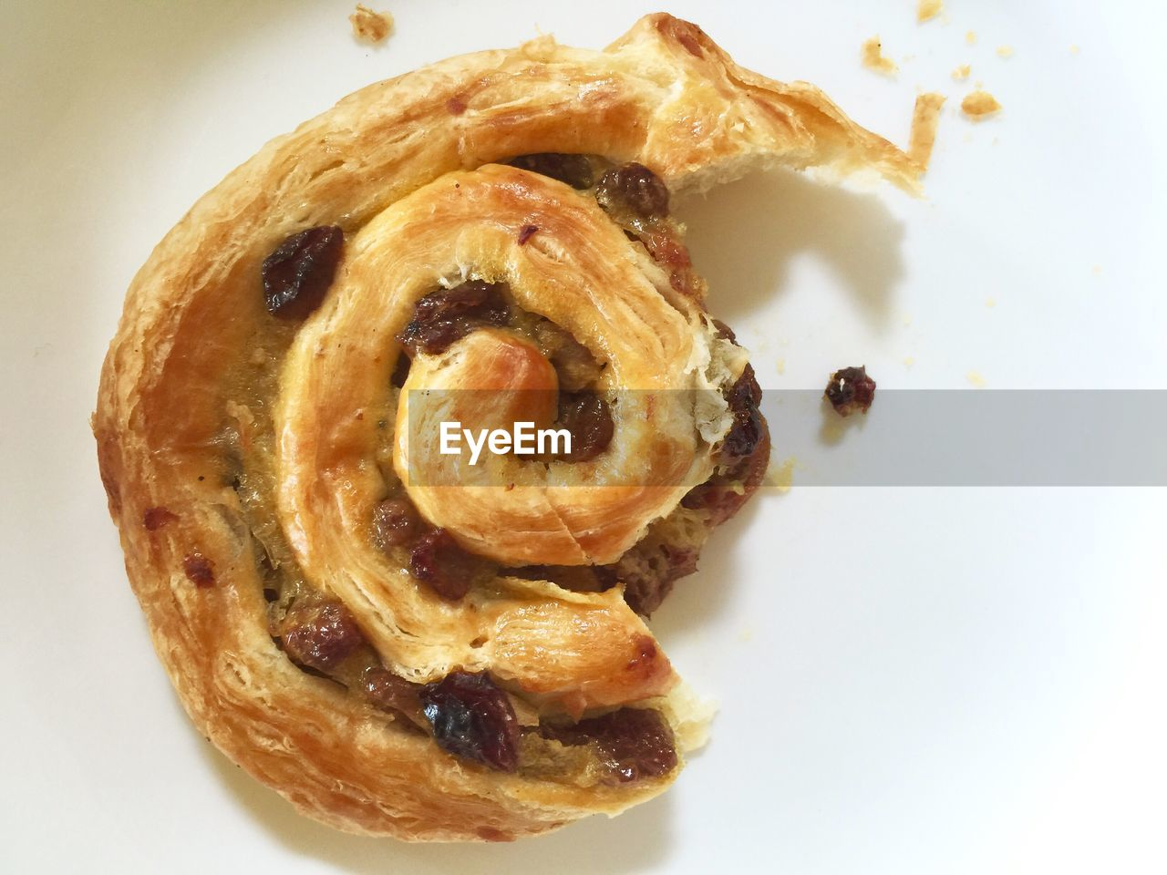 Close-Up Of Pain Aux Raisins In Plate