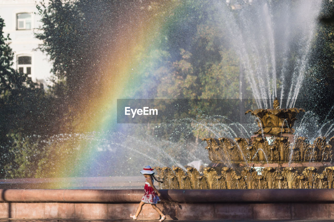 spraying, water, motion, outdoors, day, no people, one animal, building exterior, architecture, tree, city, nature, animal themes, close-up