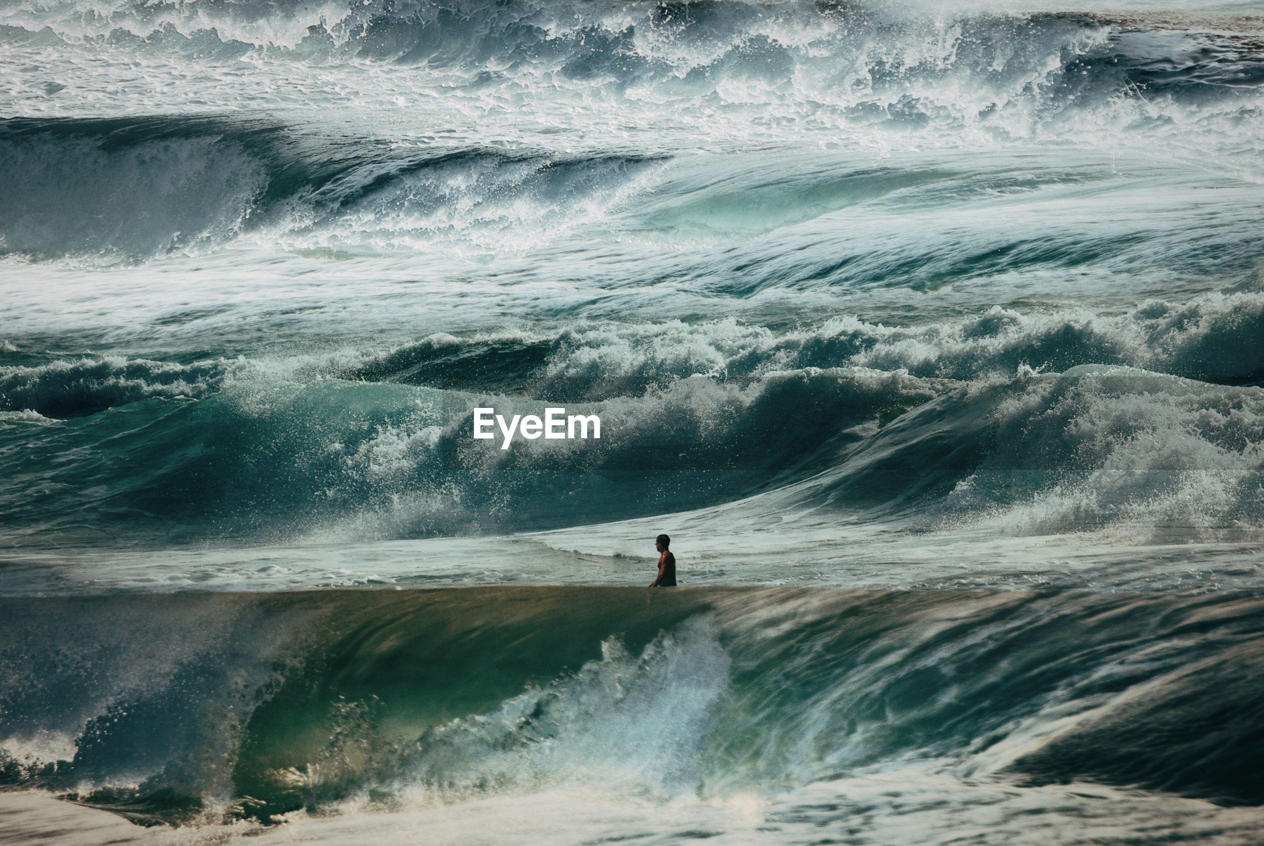 Mature man in sea