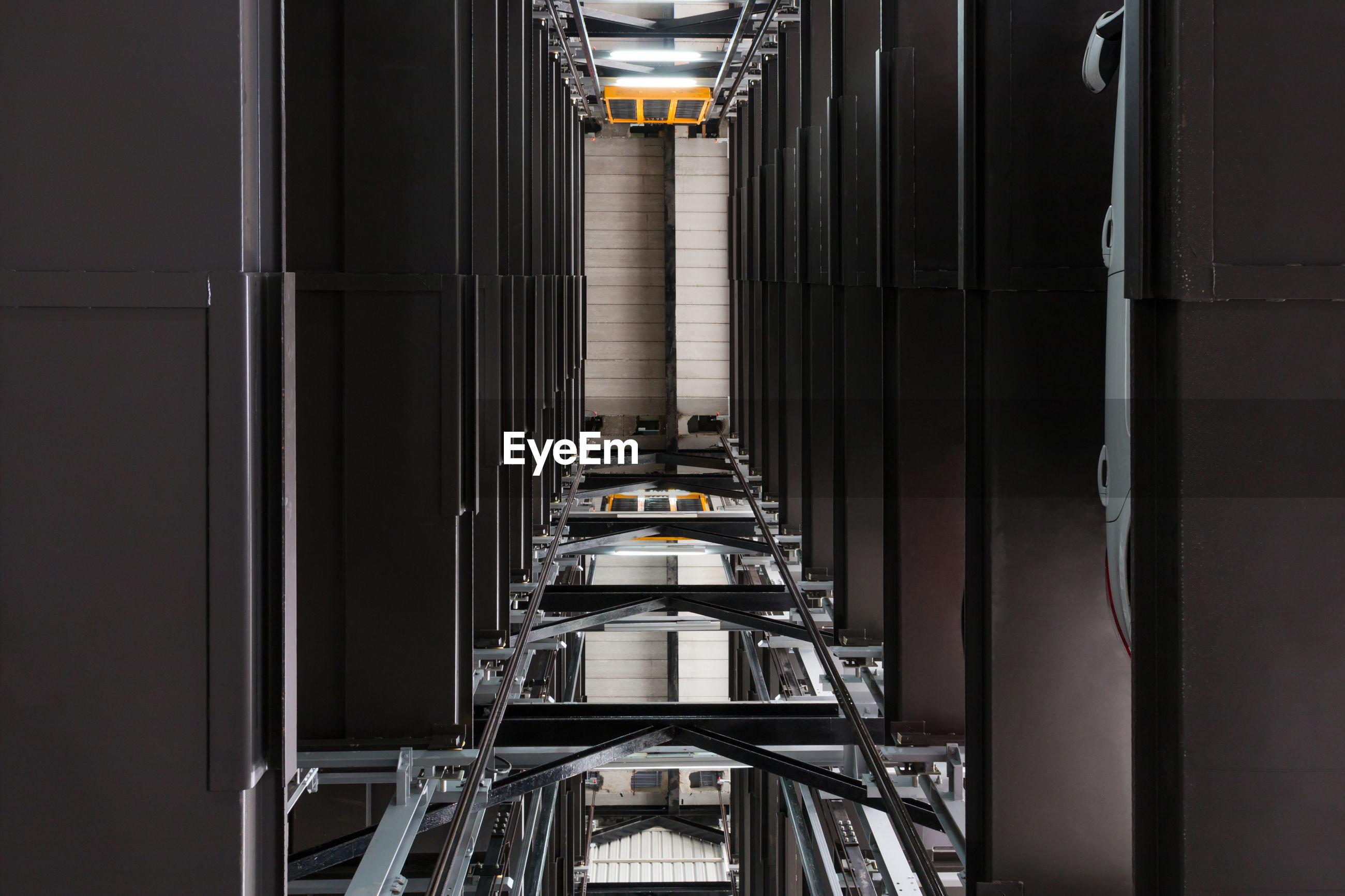 Directly below shot of hydraulic platform
