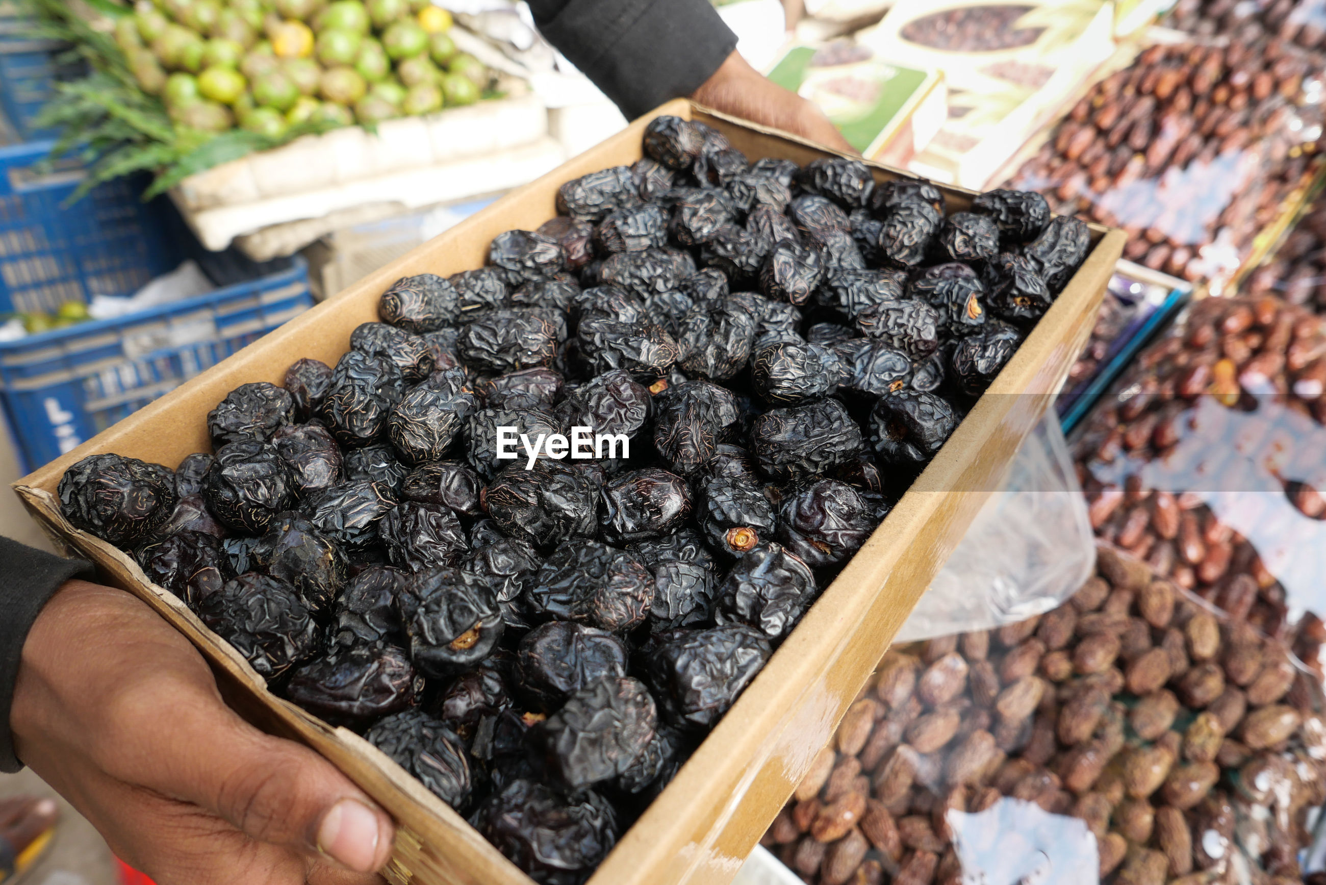 High angle view of date  fruits for sale in market