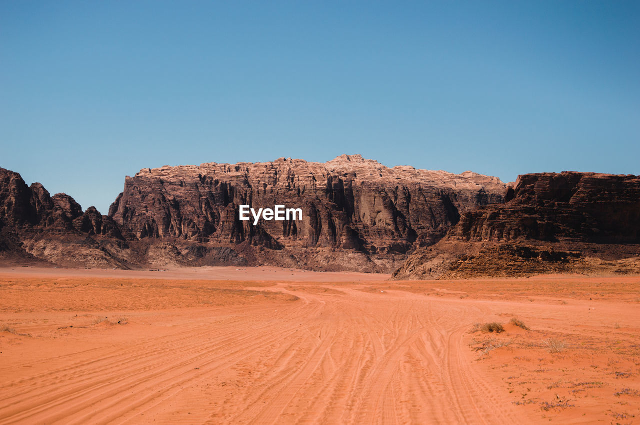 Scenic view of rock formations in desert against clear sky