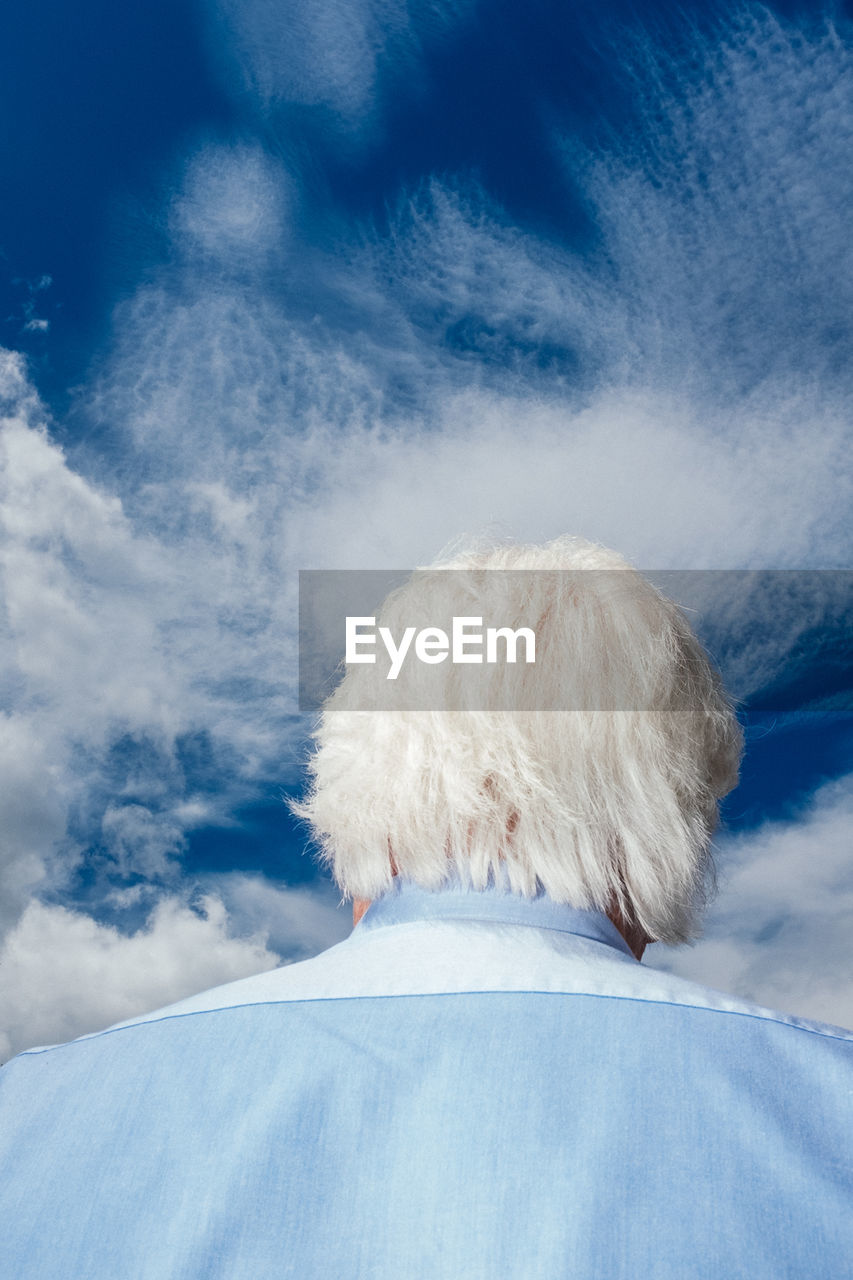 sky, cloud - sky, rear view, one person, blue, day, hair, winter, headshot, nature, snow, real people, cold temperature, portrait, white color, women, adult, one animal, hairstyle, softness, warm clothing, white hair, human hair