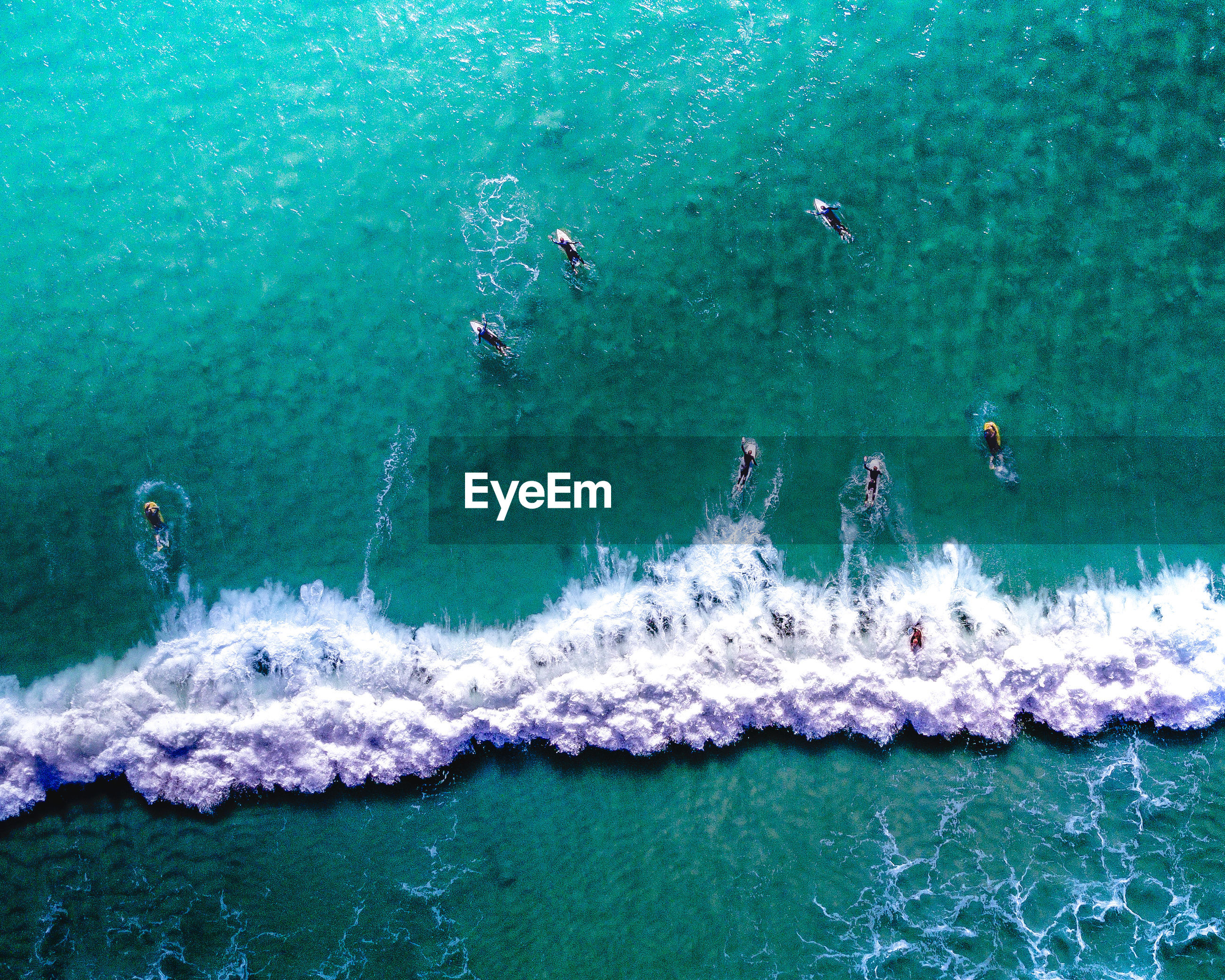High angle view of people surfing on sea