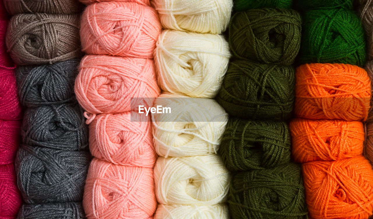 Full frame shot of multi colored yarns
