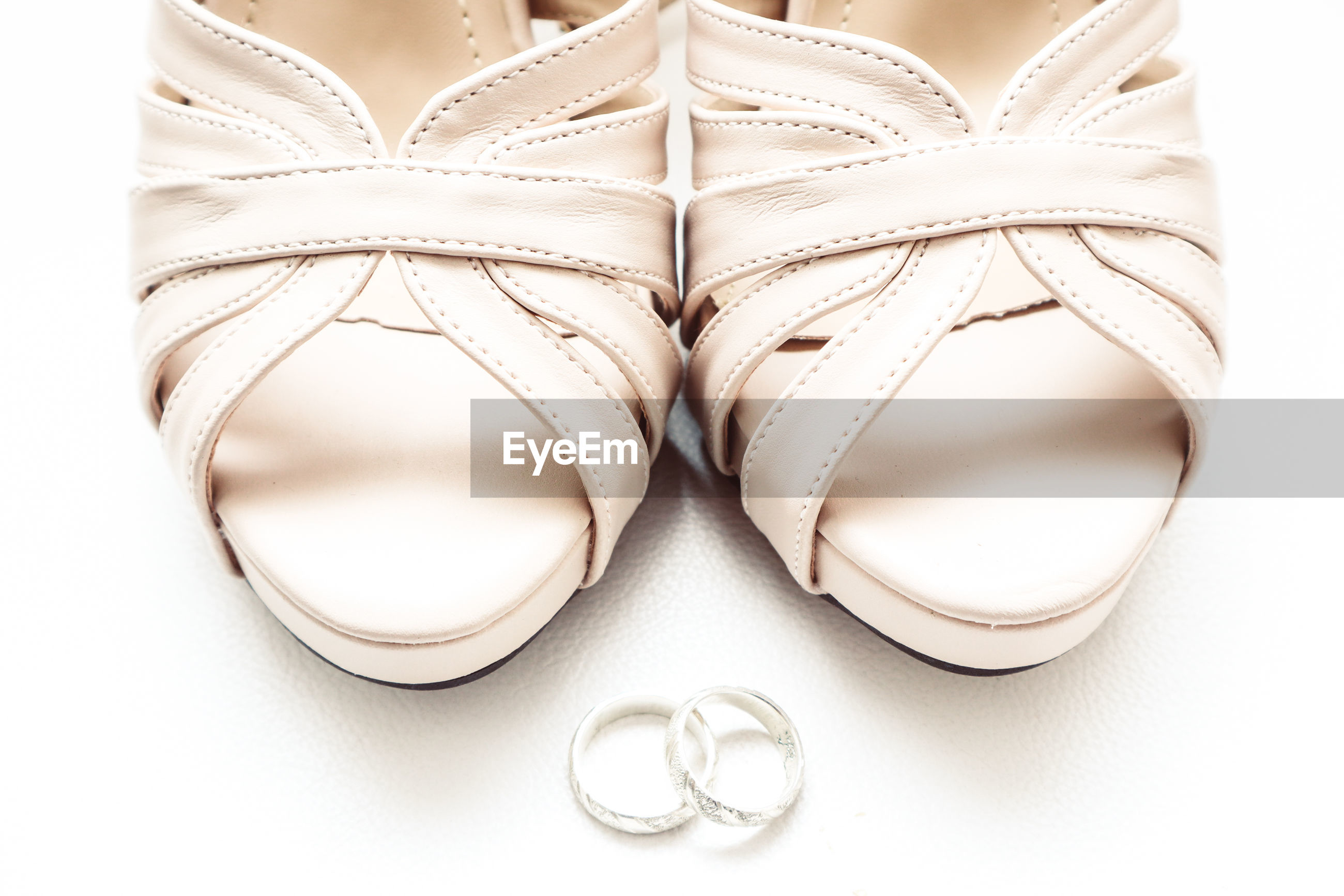 HIGH ANGLE VIEW OF SHOES ON WHITE