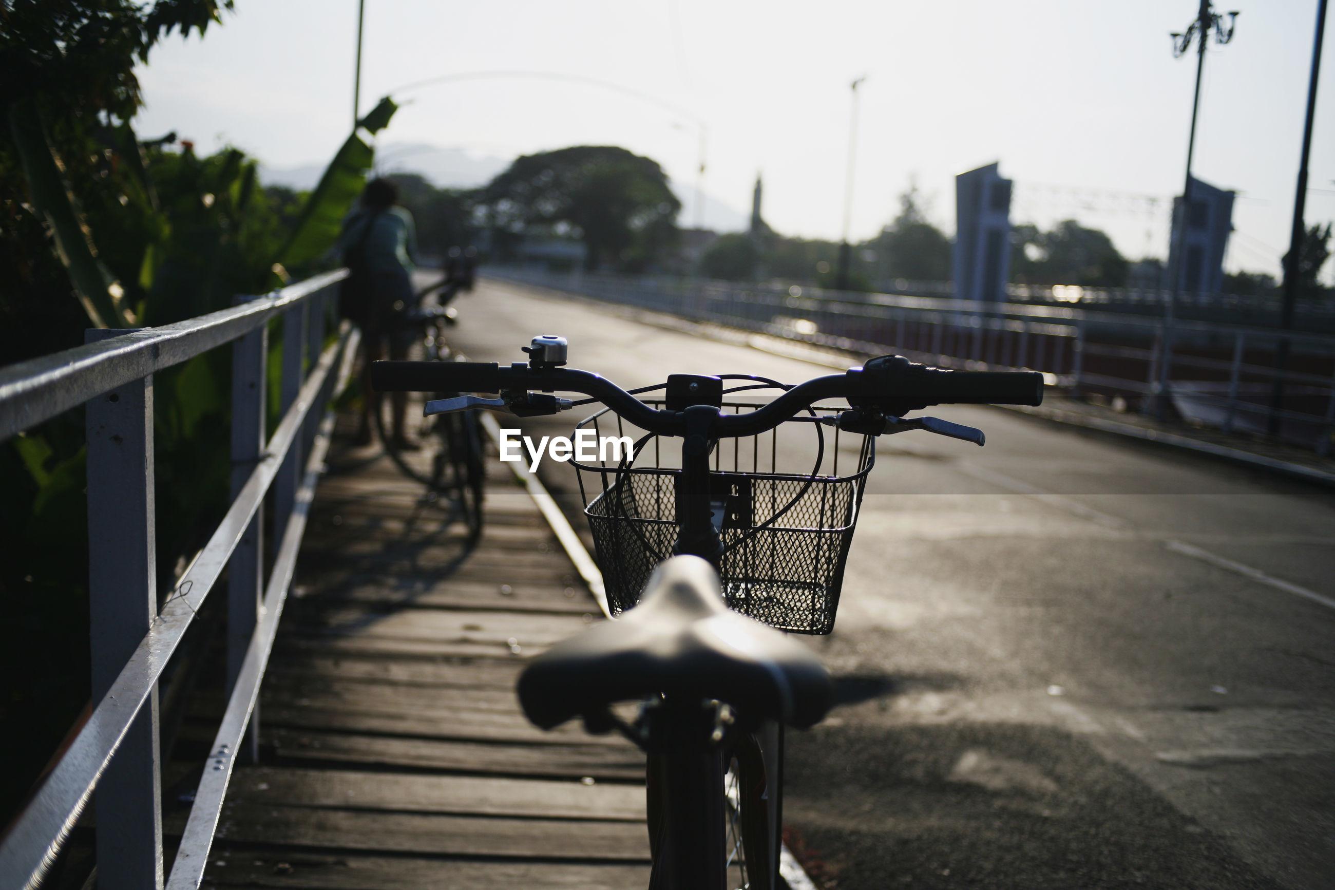Bicycle on bridge in city