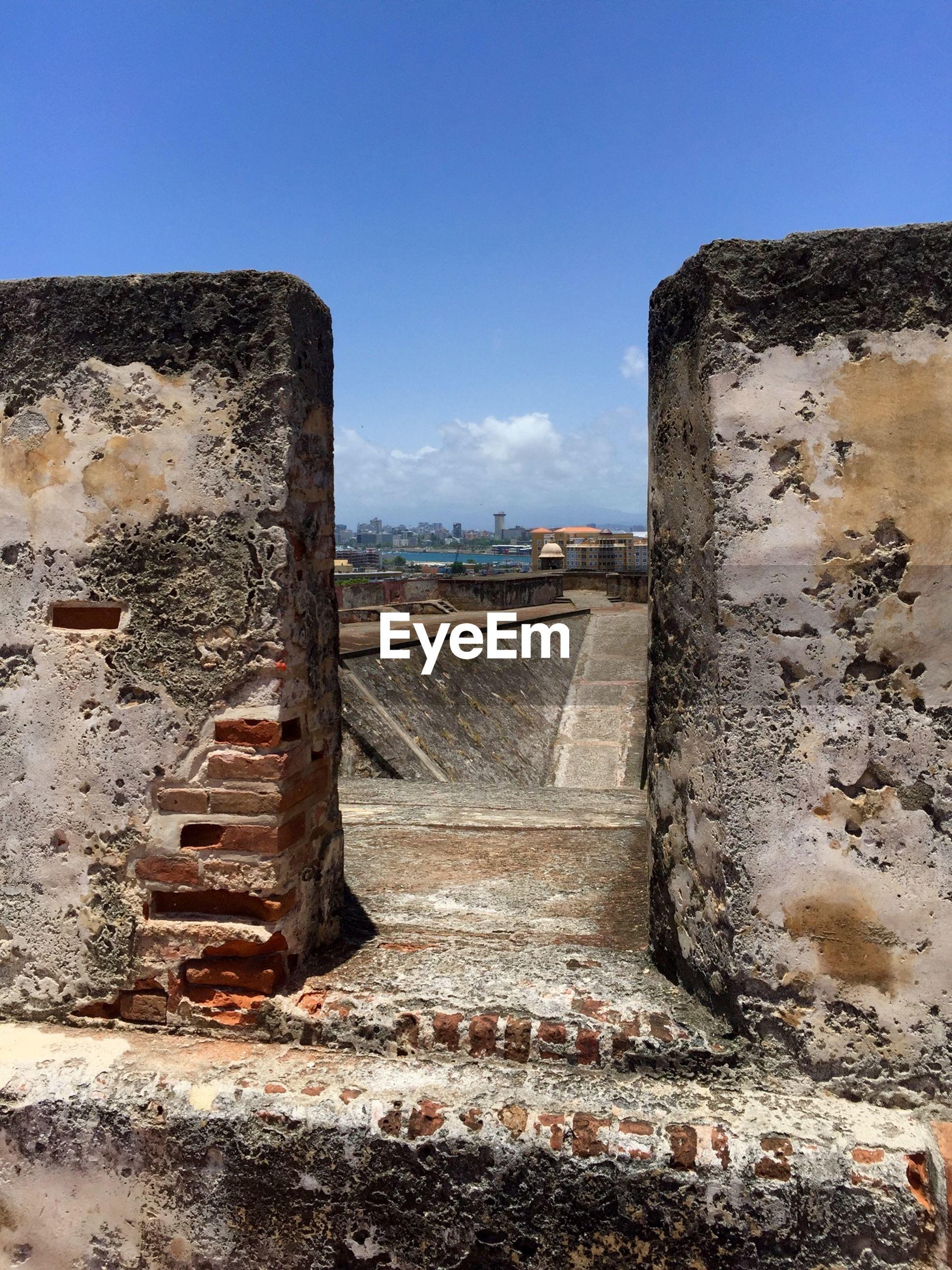 Entrance of building terrace against sky