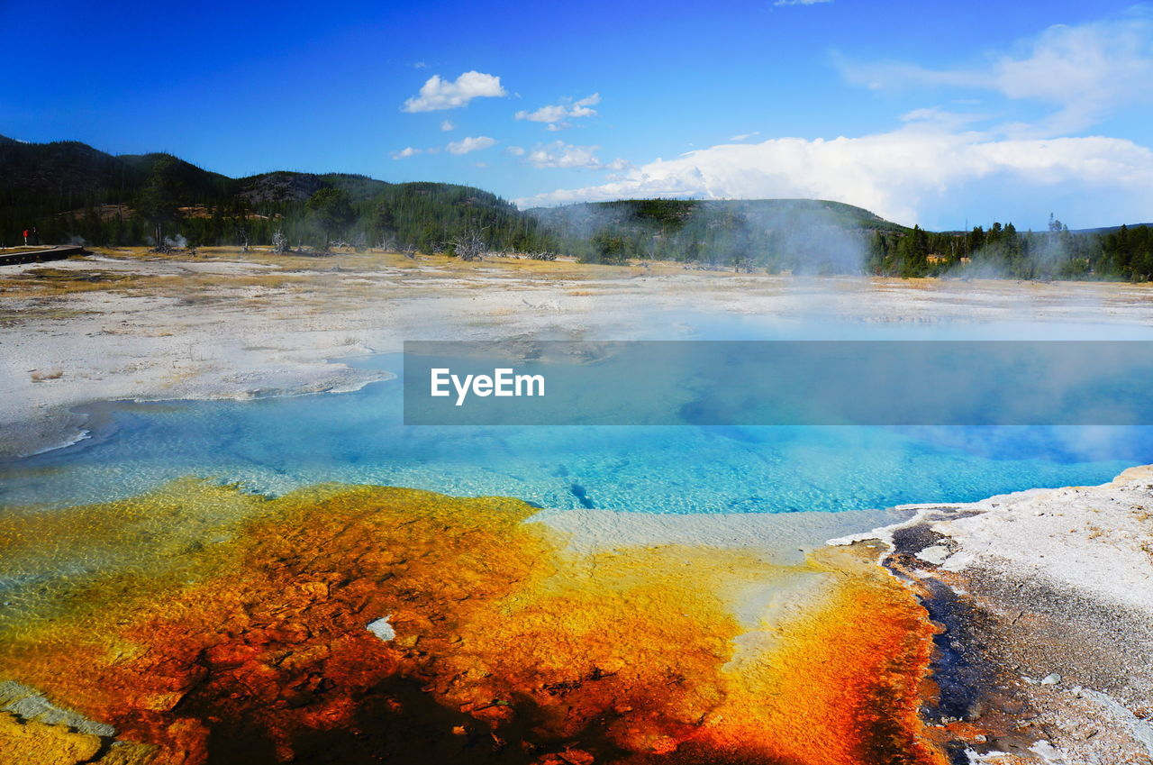 geyser, beauty in nature, smoke - physical structure, hot spring, nature, heat - temperature, steam, sky, volcanic landscape, outdoors, day, no people, water, scenics, tranquility, landscape, tranquil scene, physical geography, mountain, travel destinations, tree